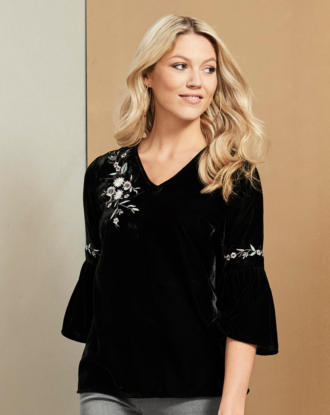 Womens Embroidered Top With Fluted Sleeve Simply Be
