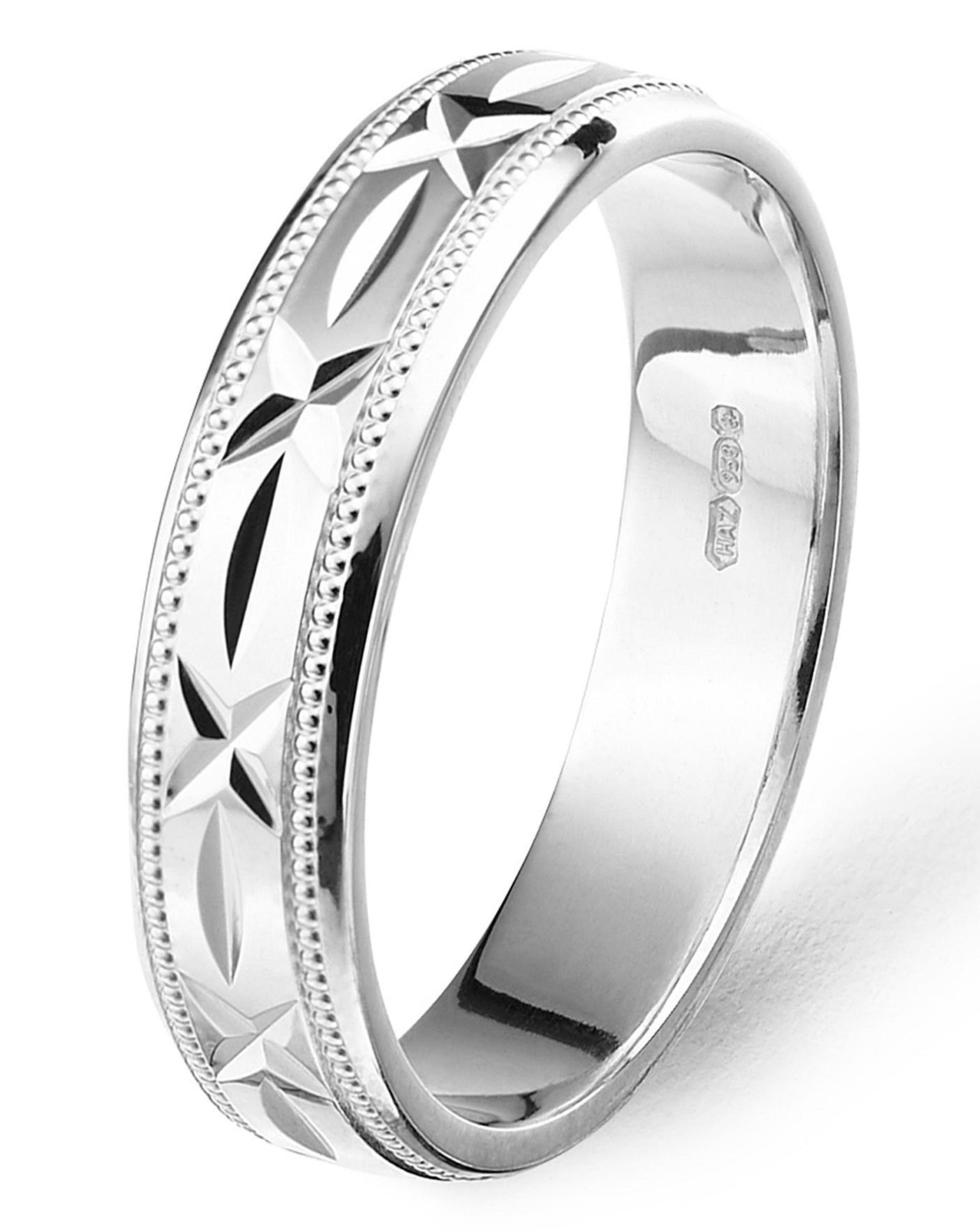 Silver Mens Diamond Cut Wedding Band J D Williams