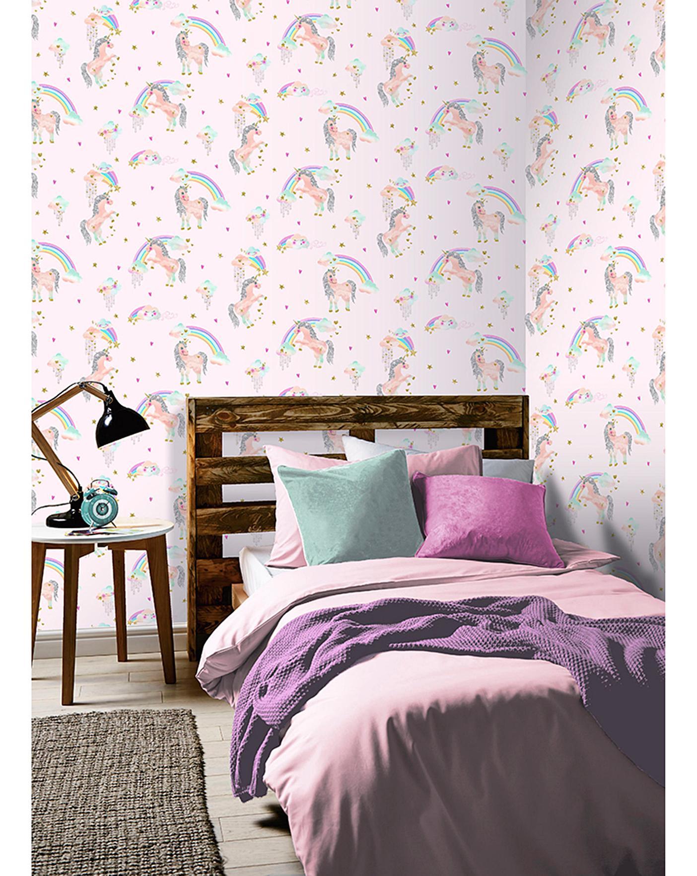 Rainbow Unicorn Pink Glitter Wallpaper J D Williams