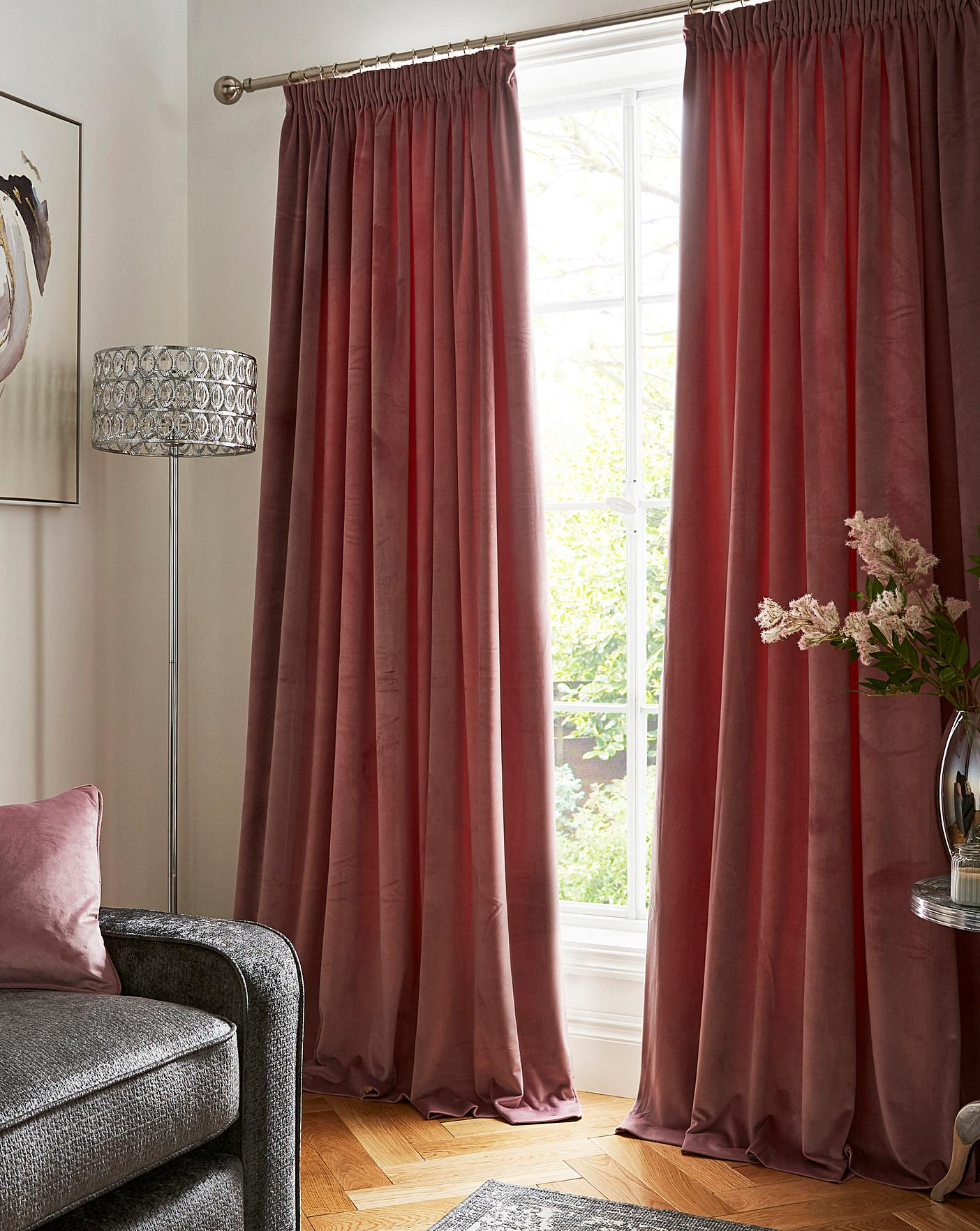 Luxury Velour Pencil Pleat Curtains J D Williams