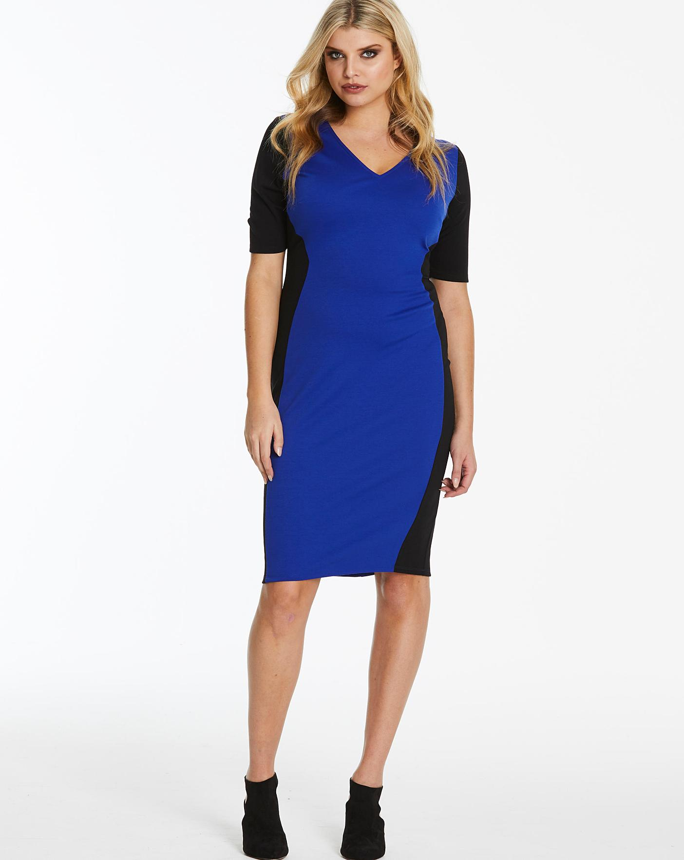 9c45c01ceccd Cobalt V-Neck Illusion Bodycon Dress | Simply Be