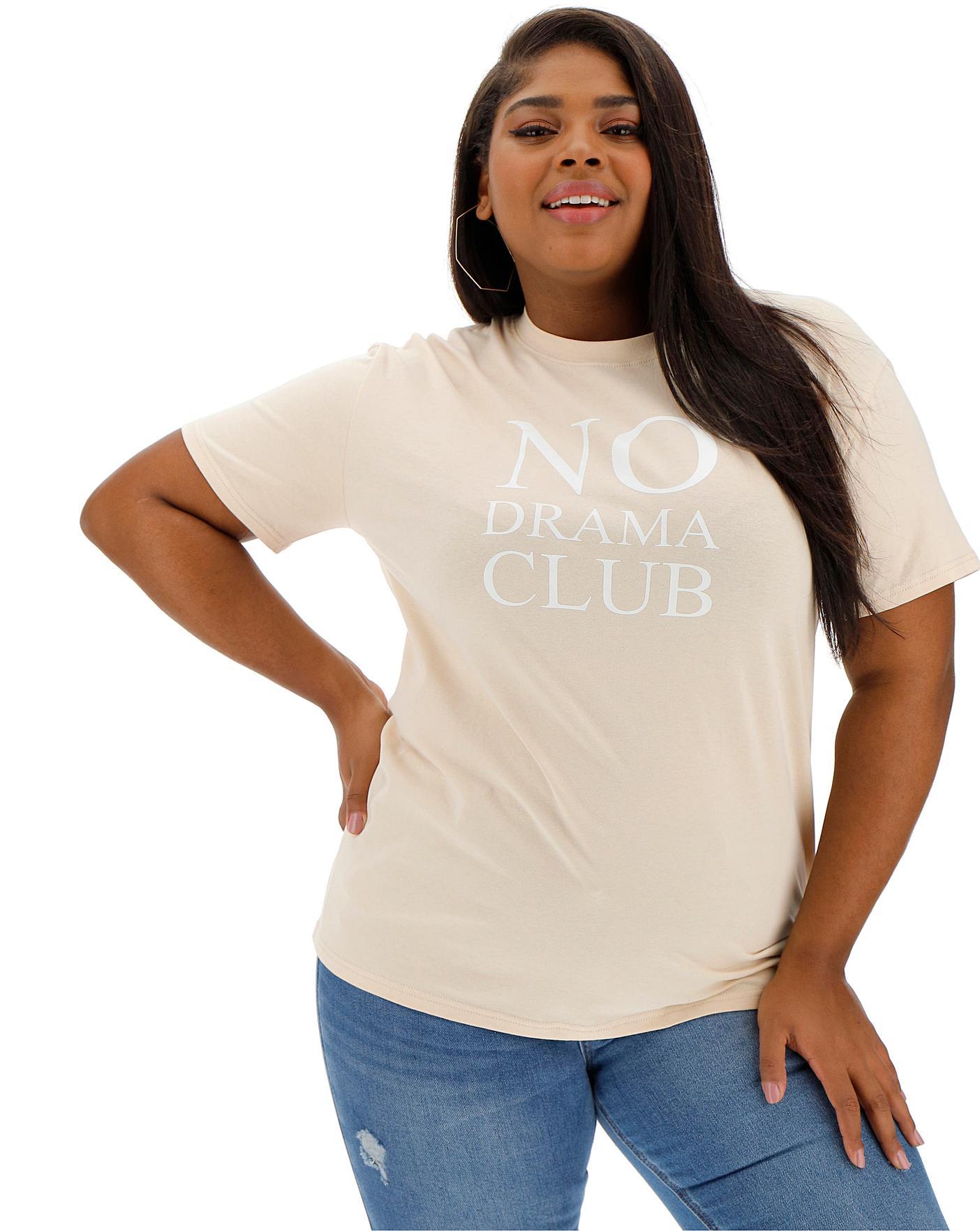 Lasula No Drama Club Slogan Tshirt Crazy Clearance