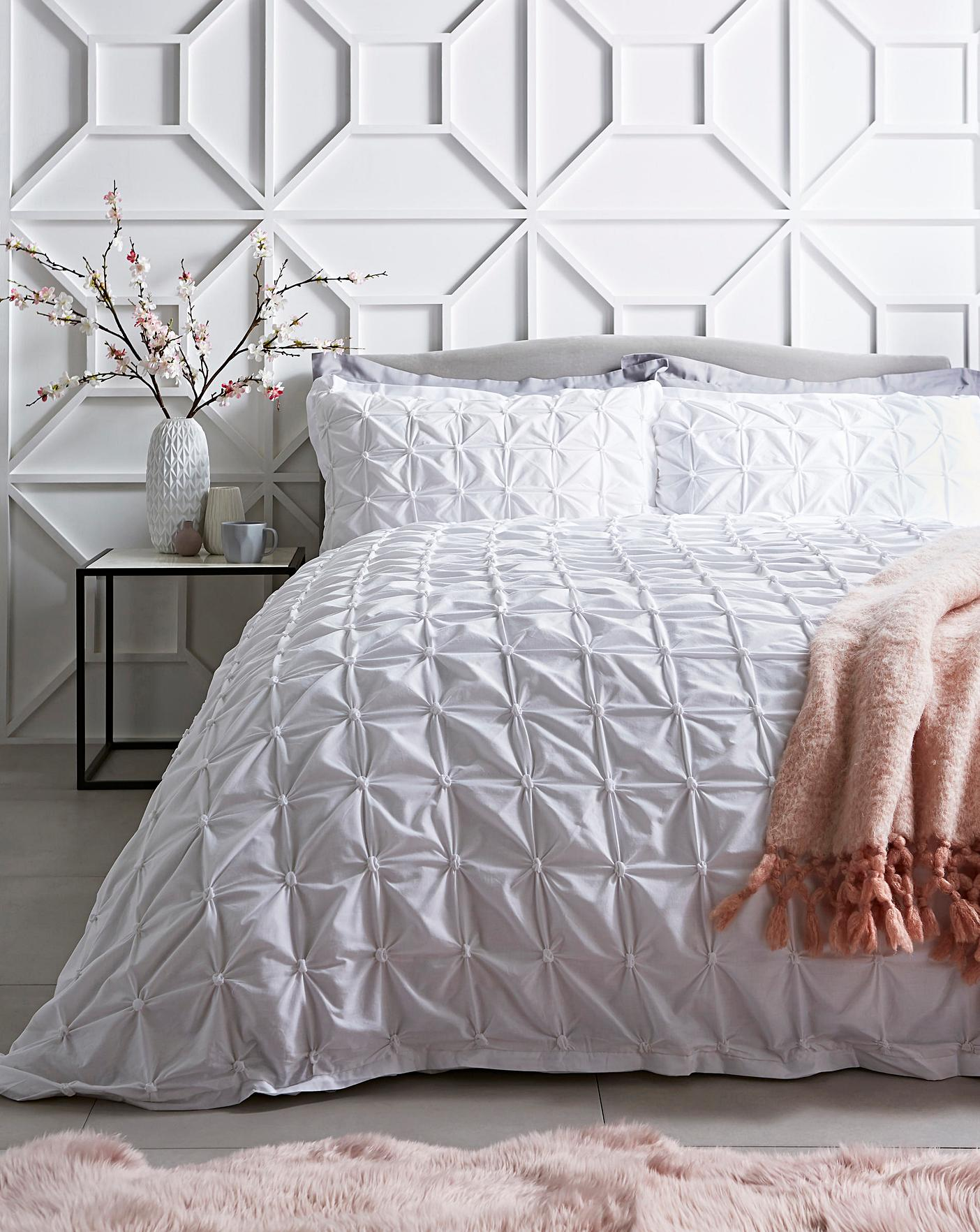 Ruched Pleated White Duvet Cover Set Oxendales