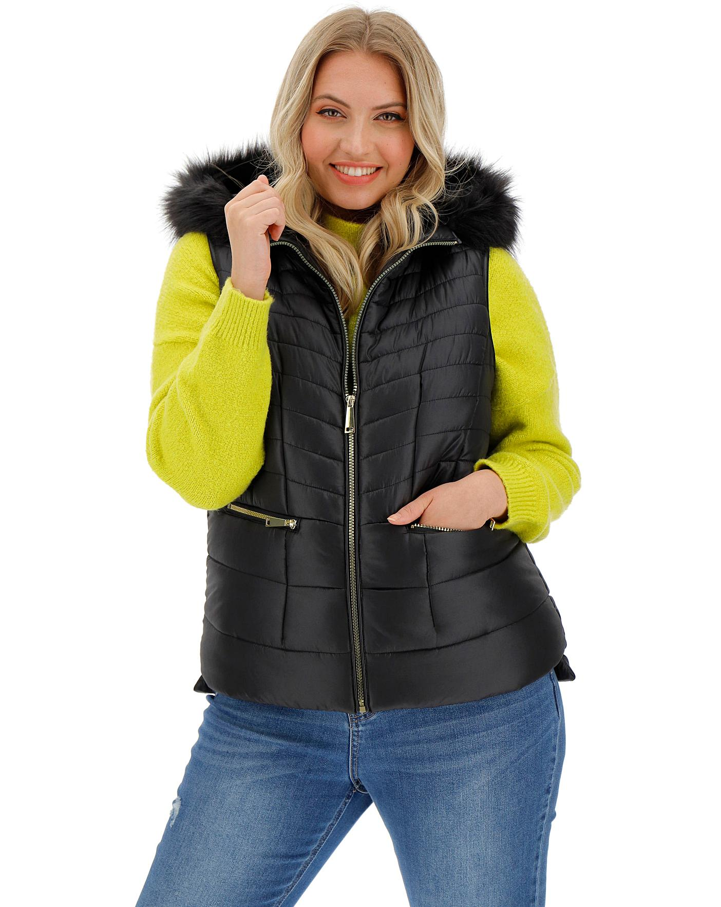 Black Faux Fur Hooded Padded Gilet