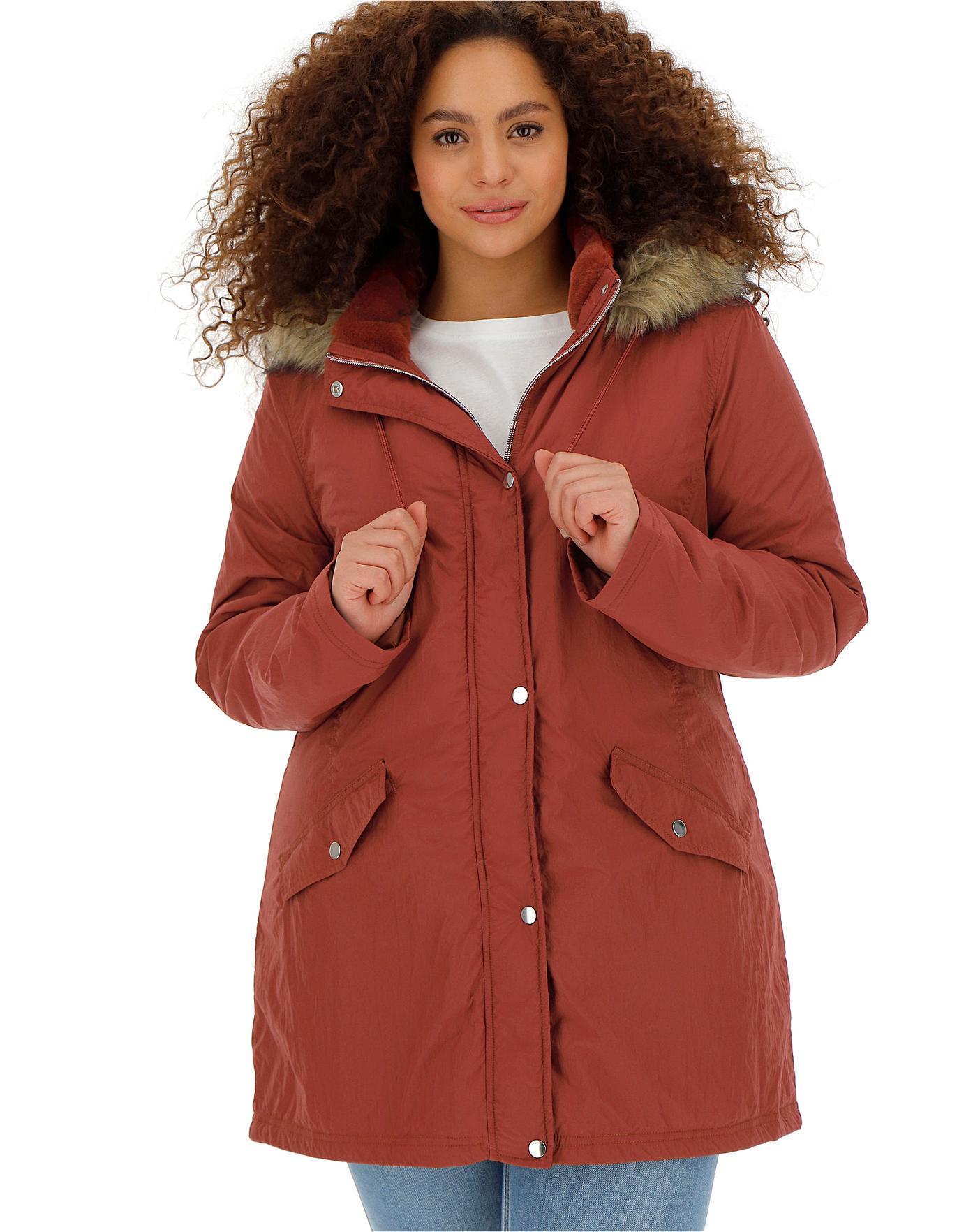 b38939b56 Henna Faux Fur Trim Parka | Simply Be