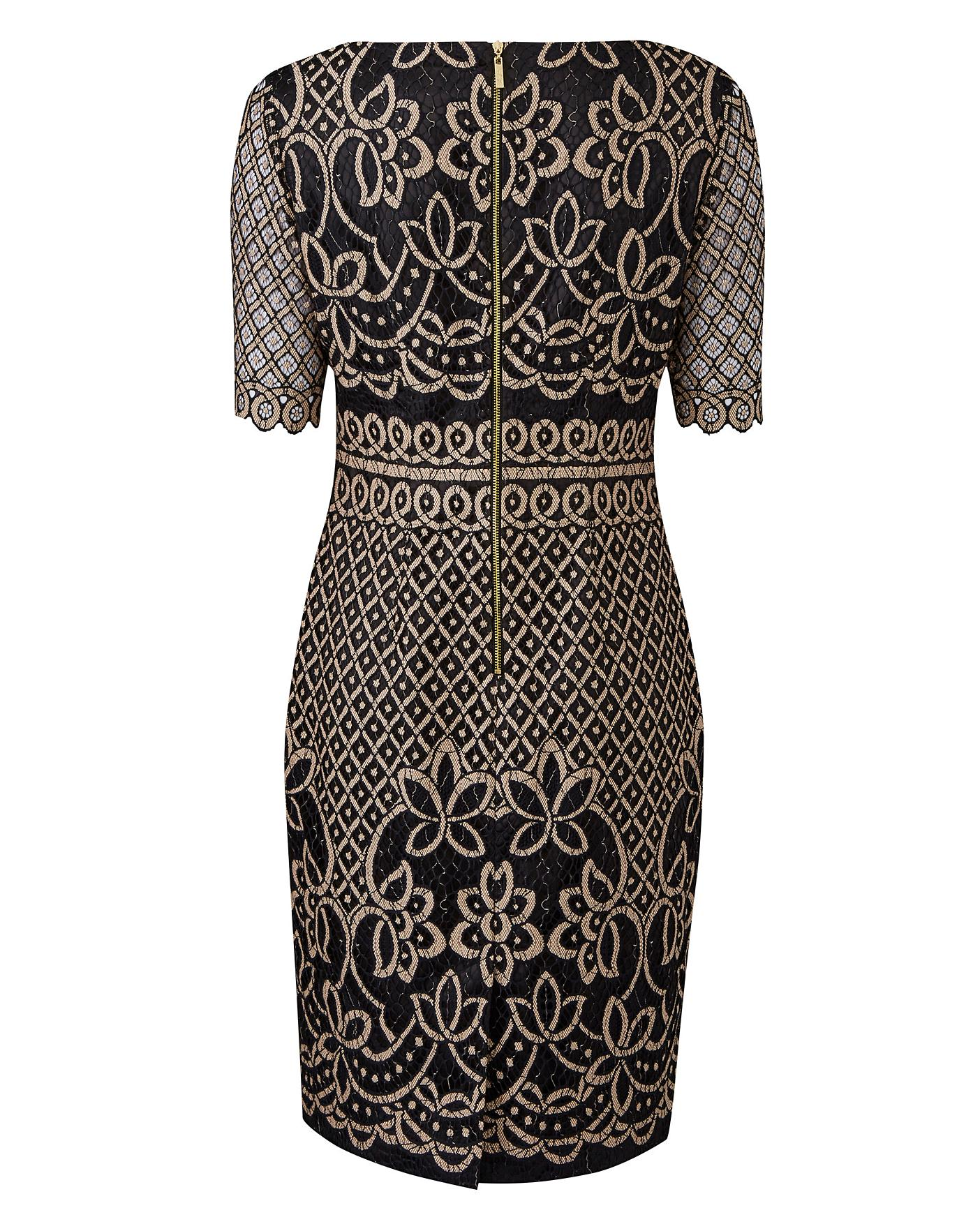 623b7115638a Description. Exclusive to us - Joanna Hope. This contrast lace dress ...
