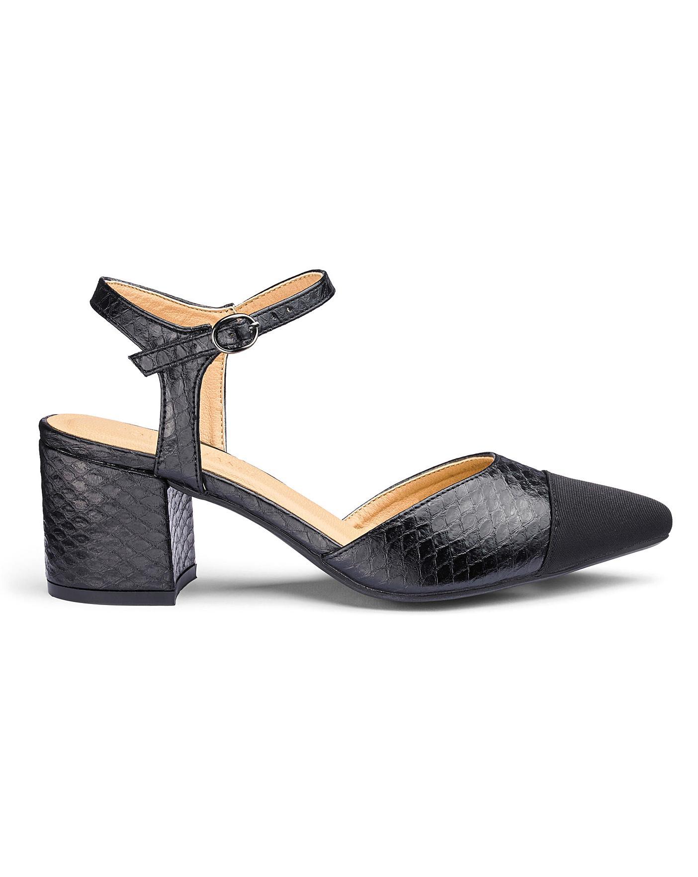 Block Heel Toe Cap Shoes EEE Fit