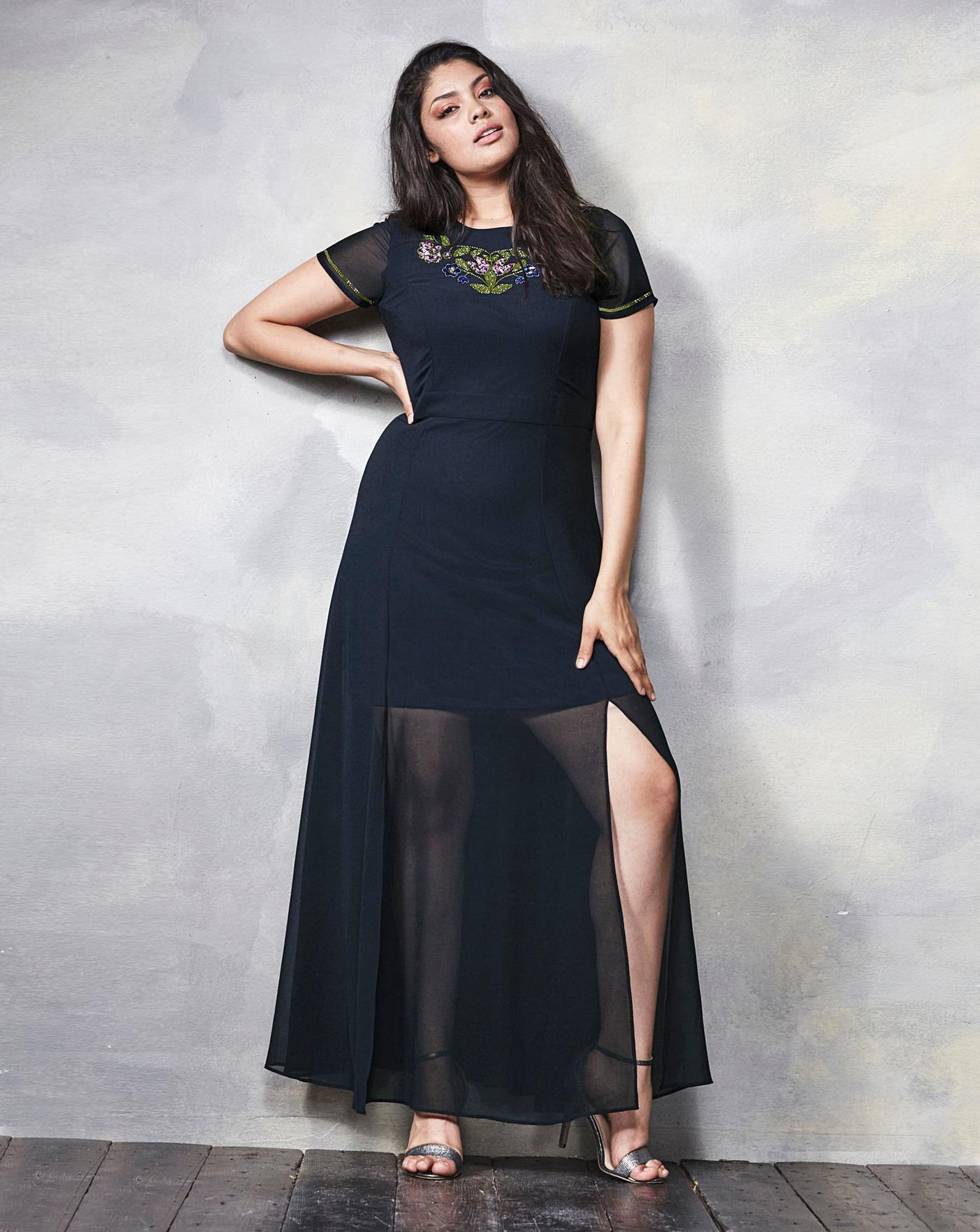 01dc4b35d25 Beaded Split Detail Maxi Dress | Simply Be