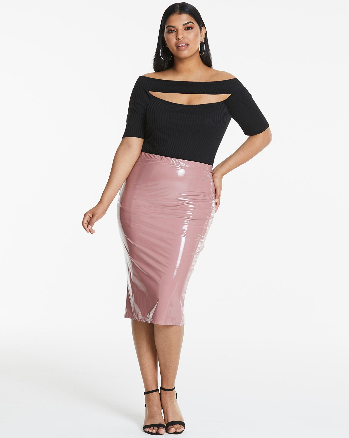 Womens Vinyl Pu Midi Skirt Simply Be