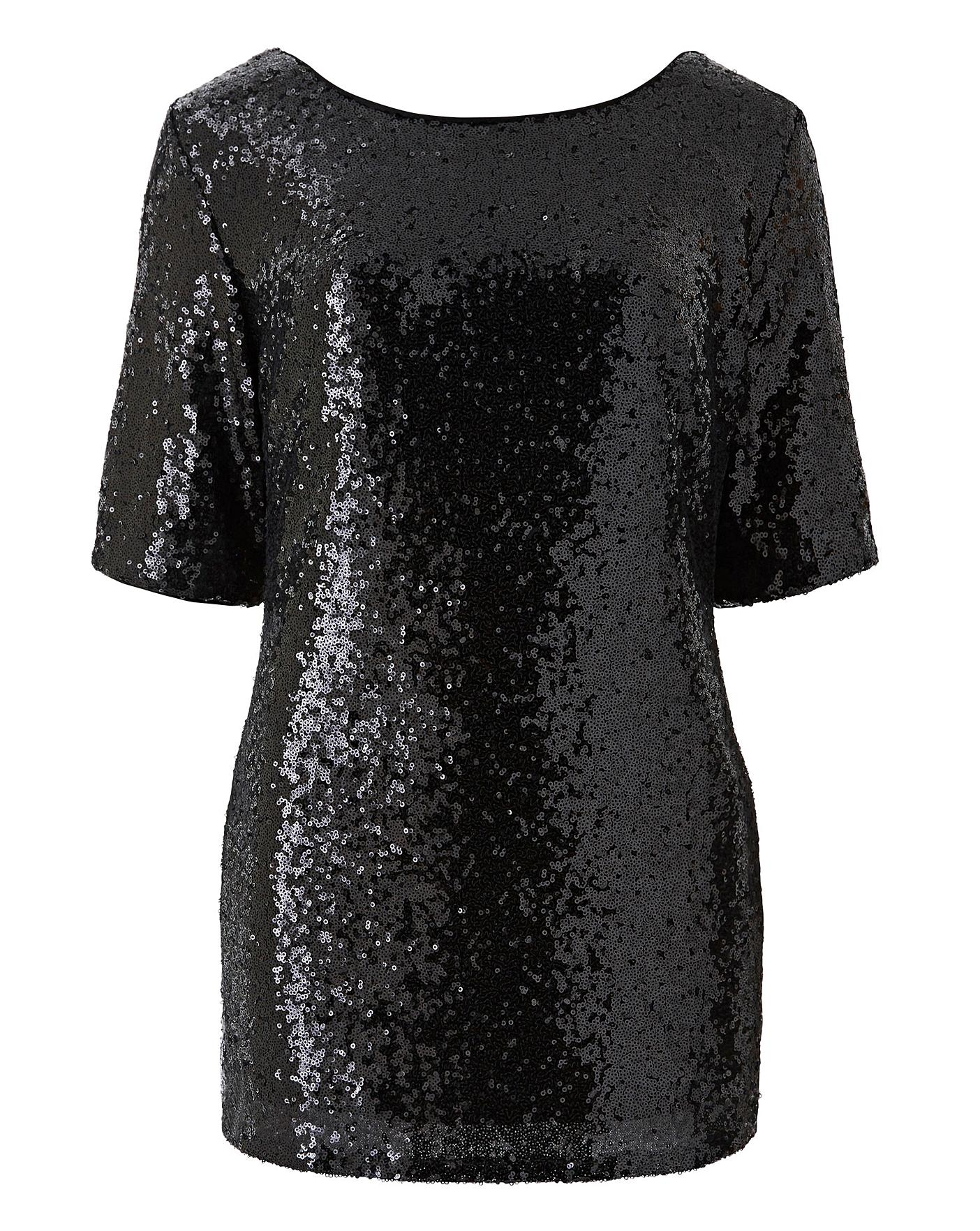 4355e648171 Black All Over Sequin Top | Simply Be
