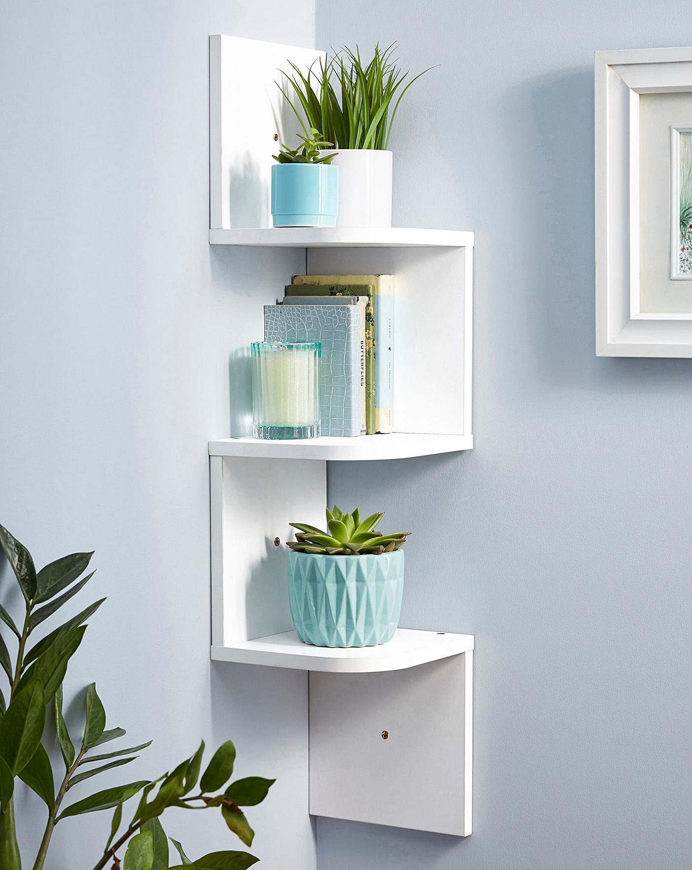 Zig Zag Corner Wall Shelf White