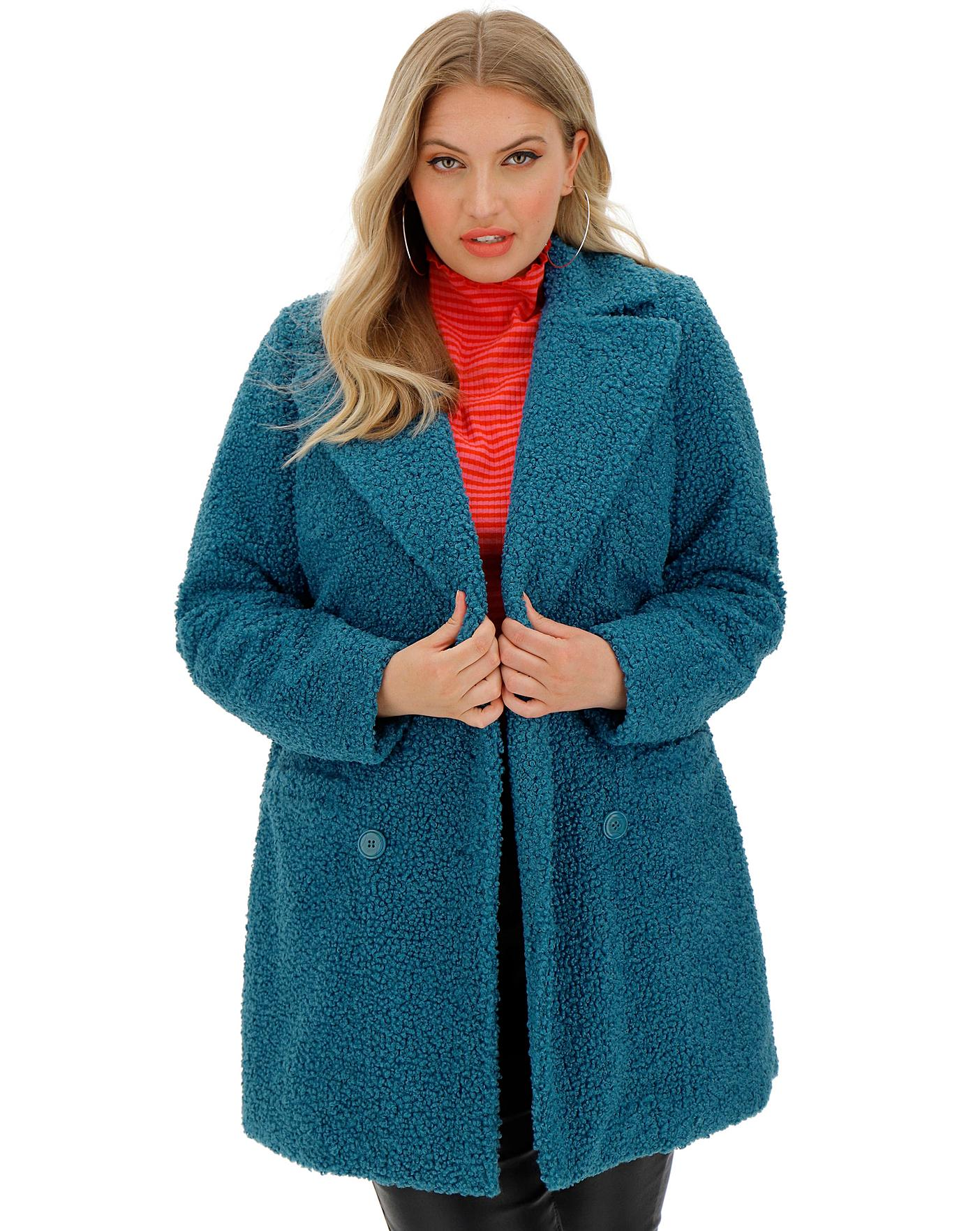 Teal Teddy Faux Fur Coat | Simply Be
