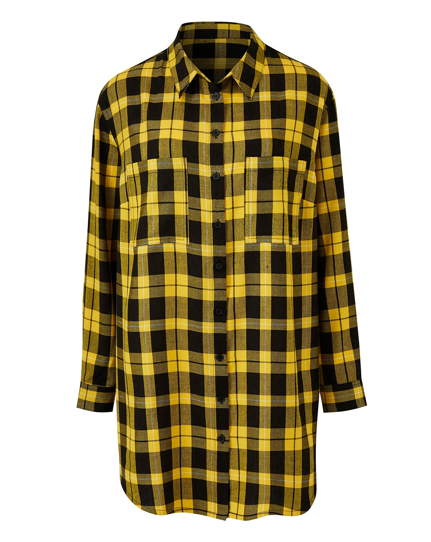 Yellow Check Boyfriend Shirt