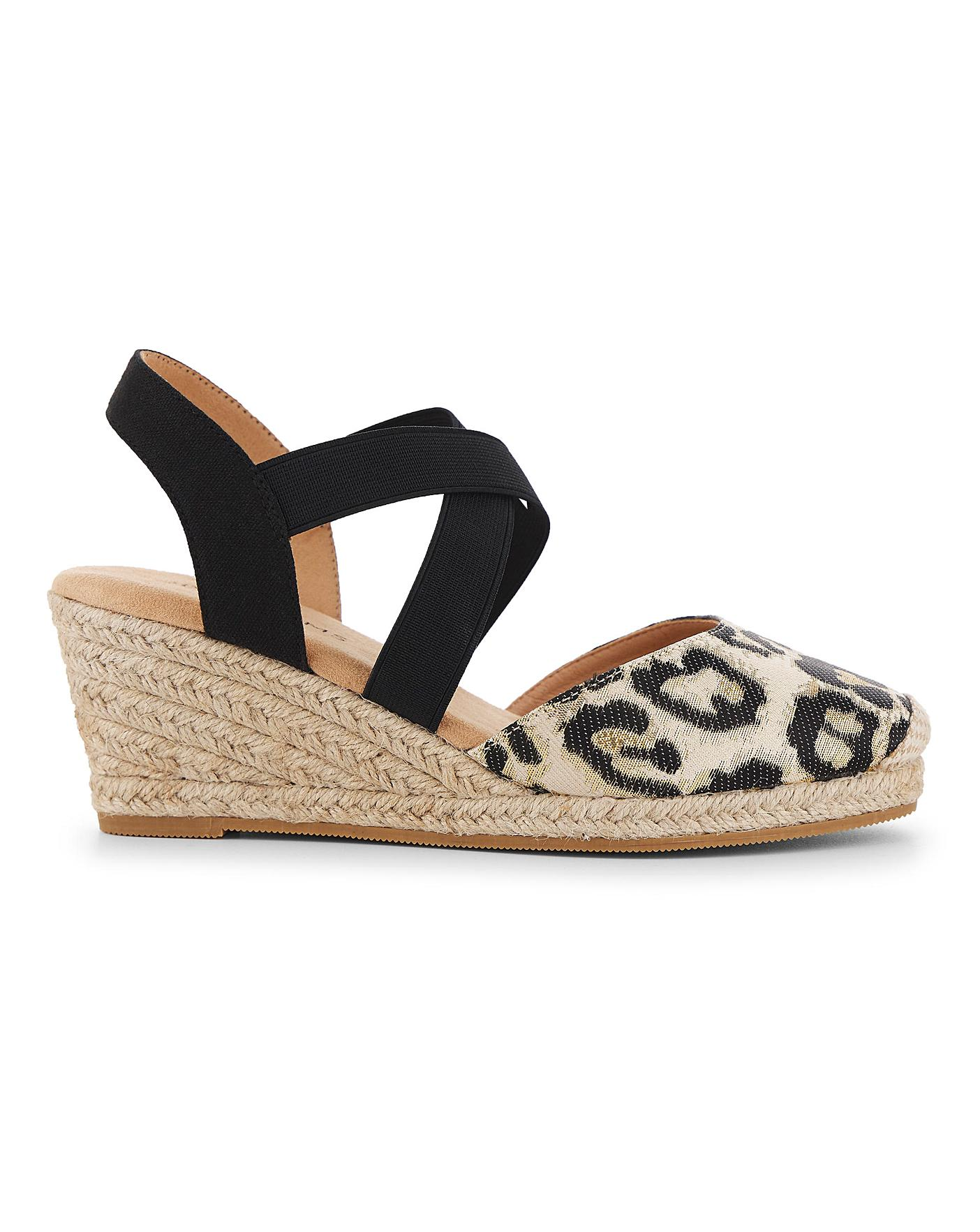 Elasticated Strap Wedge Sandals E Fit