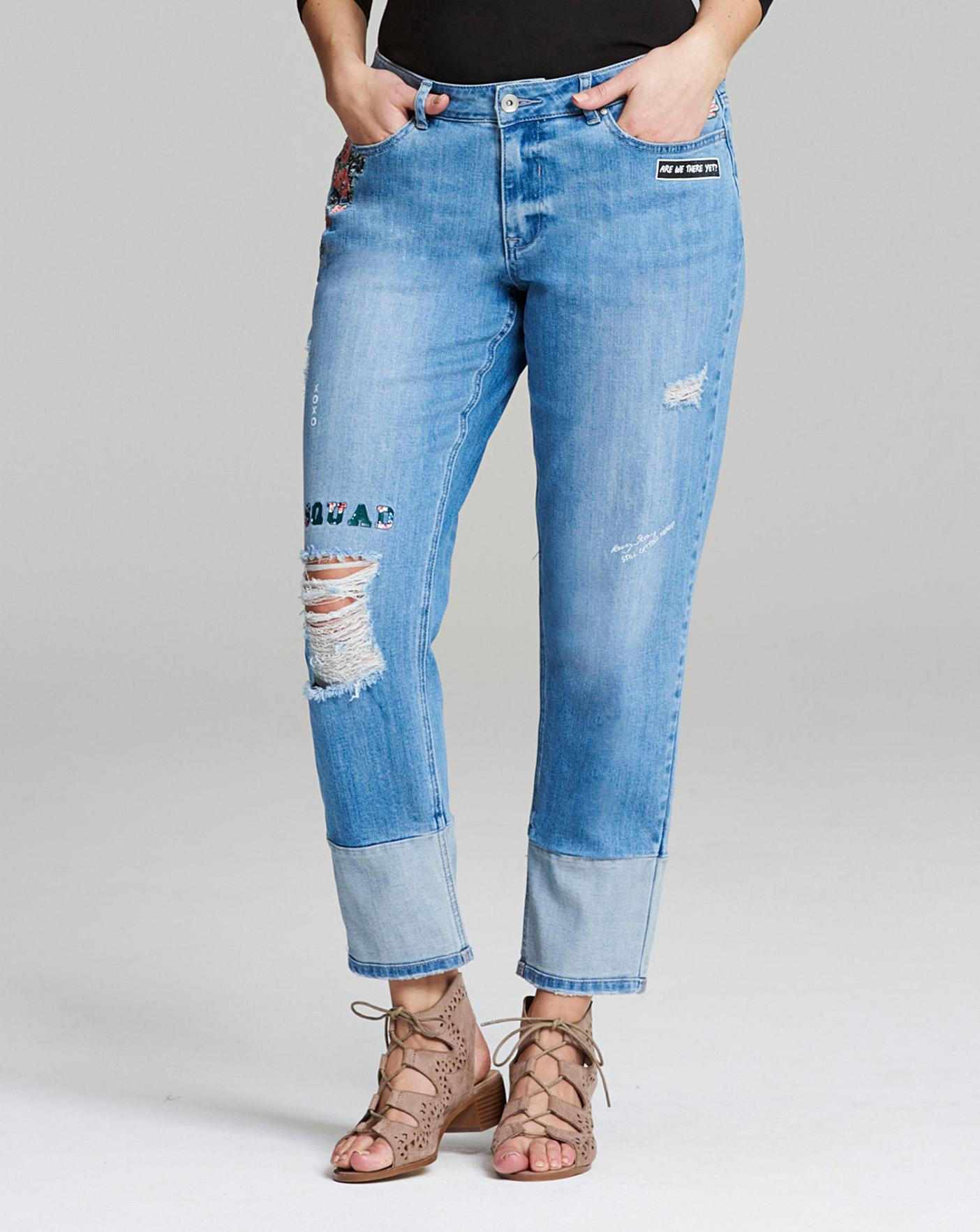 823398f6d00 Layla Embroidered Graffiti Distressed Boyfriend Jeans Regular Length