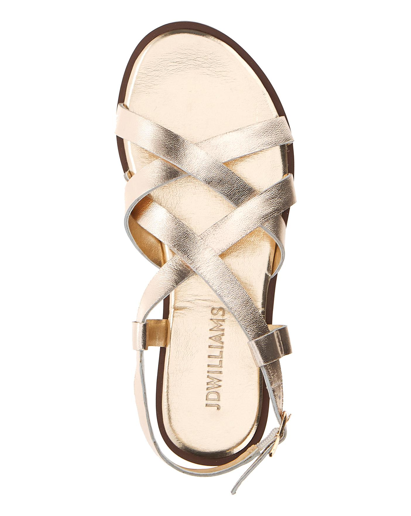 Leather Crossover Sandals EEE Fit   J D