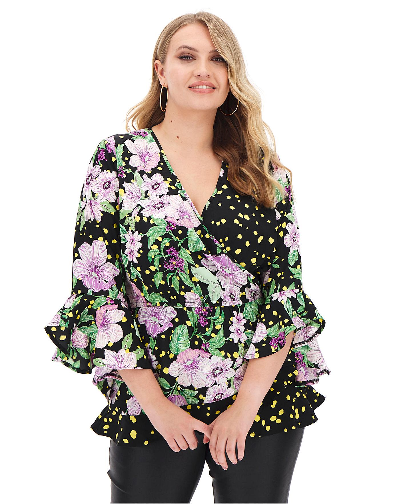 Black Floral Wrap Blouse