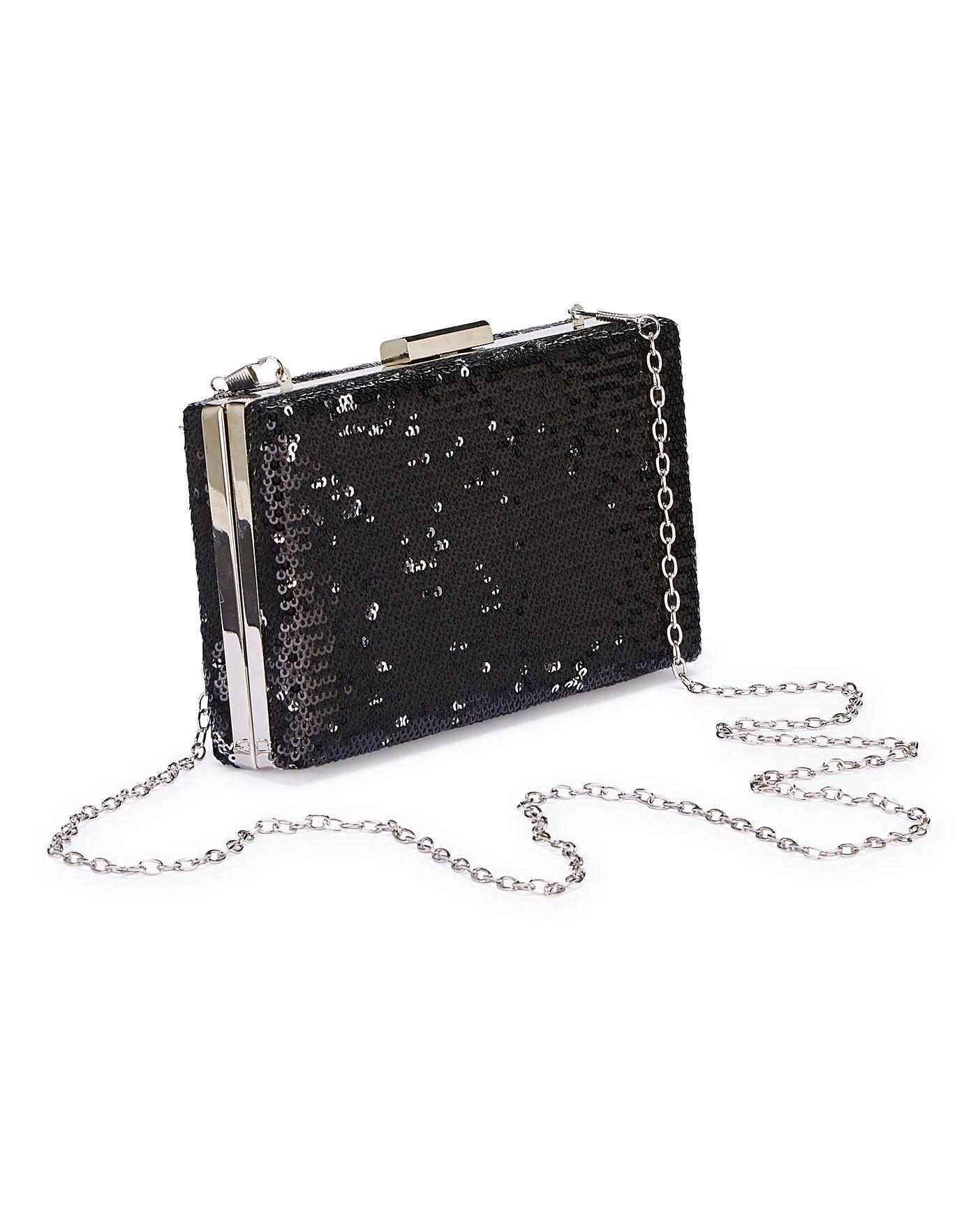 9b52fe5cbf2a Black Sequin Clutch Bag | Simply Be