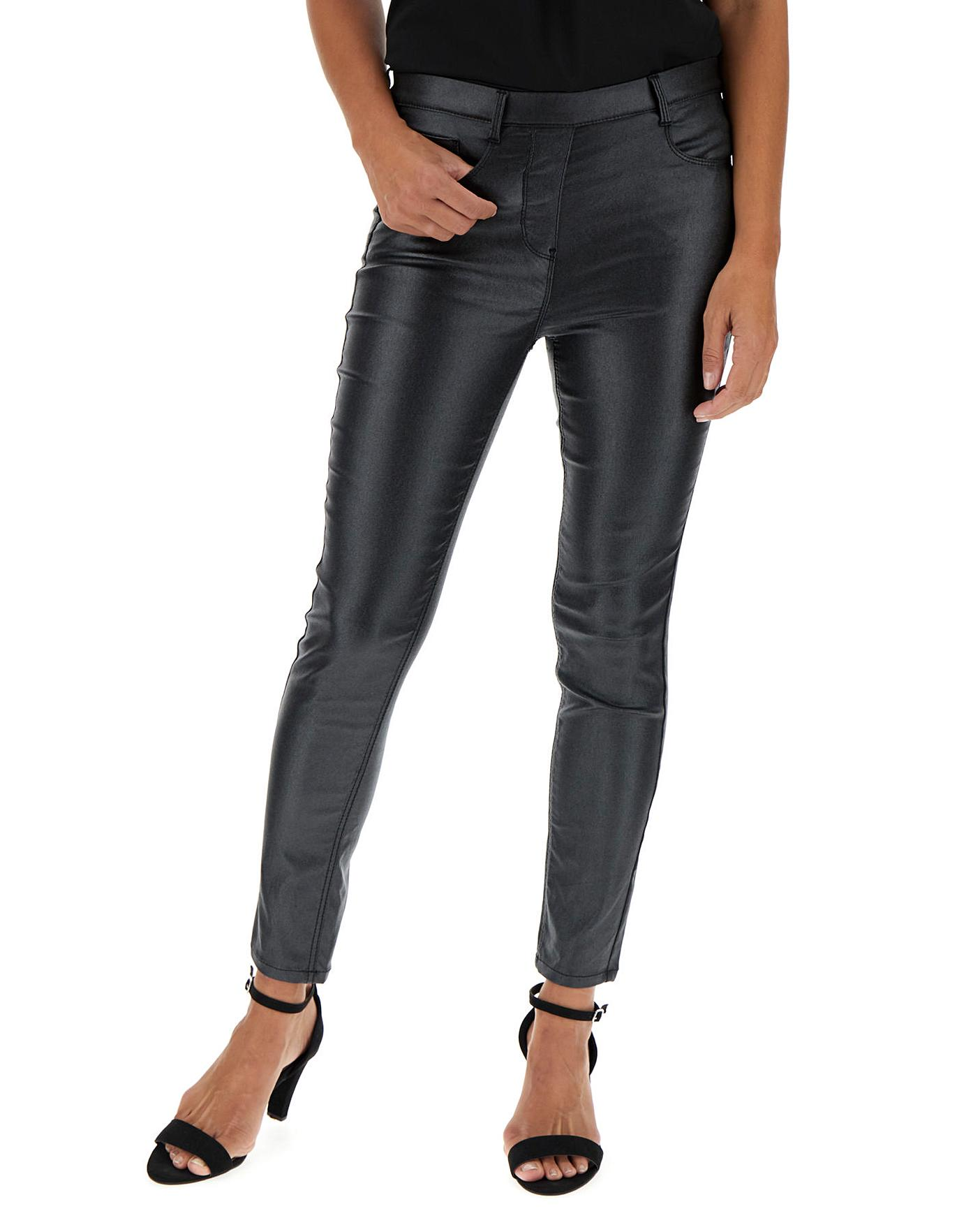 Black Glitter Pull On Jeggings