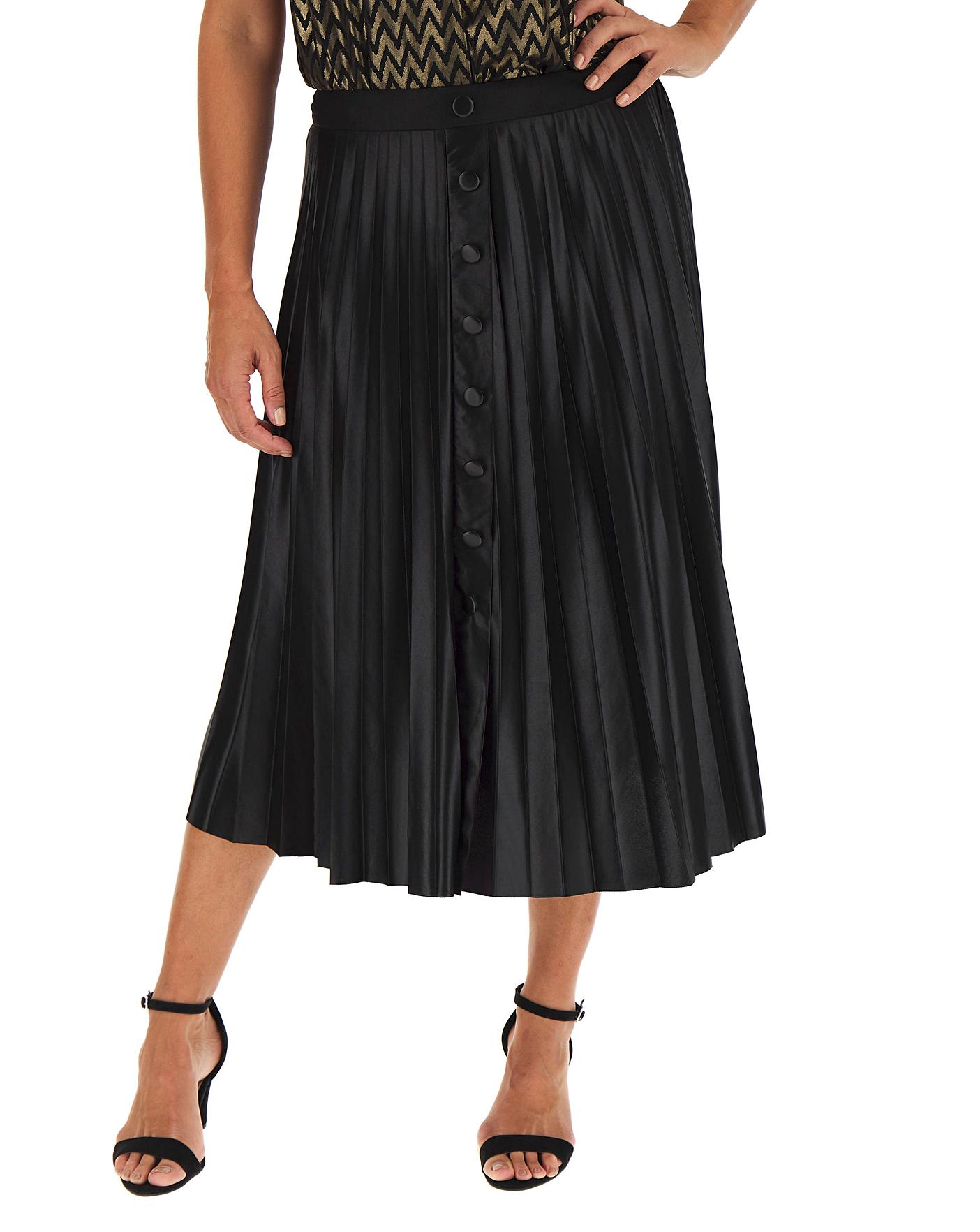 Mock Button Thru Wet Look Pleated Skirt