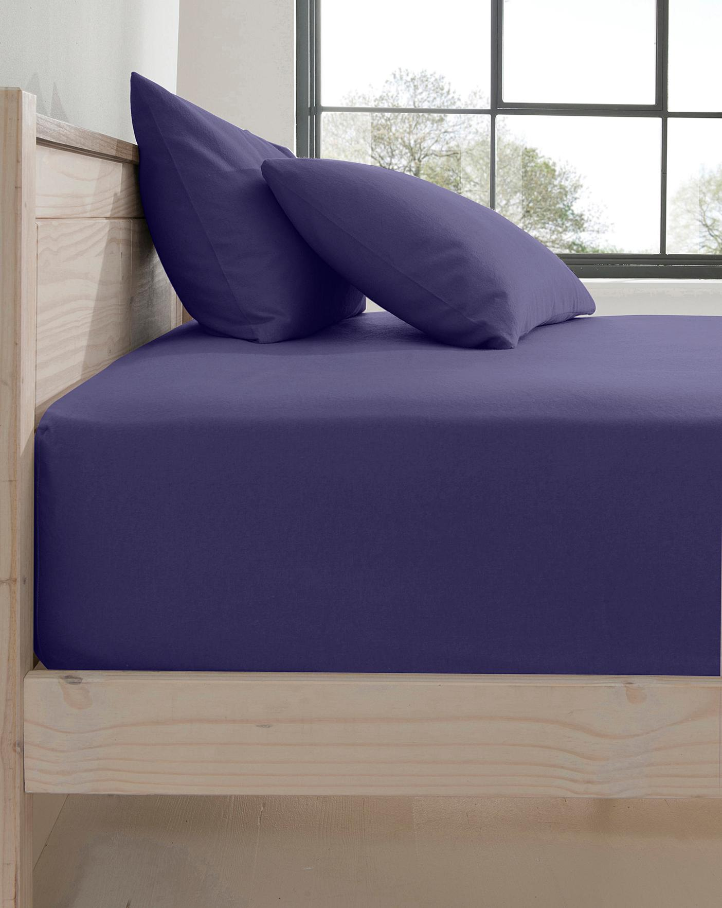 Fitted Bed Sheet Flat Single Double Super King Size Plain Dyed Pillow Cases Deep