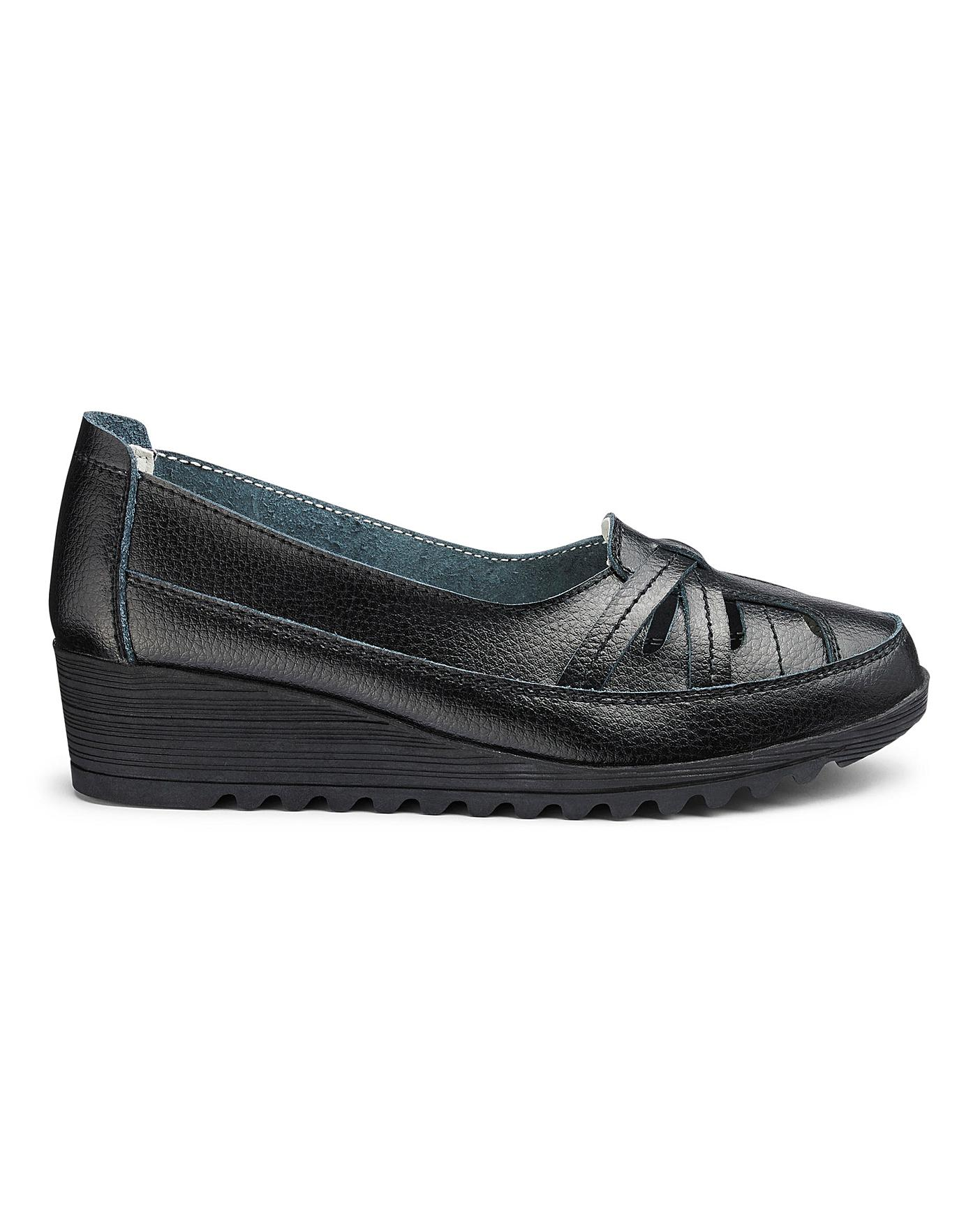Leather Wedge Shoes EEE Fit | J D Williams