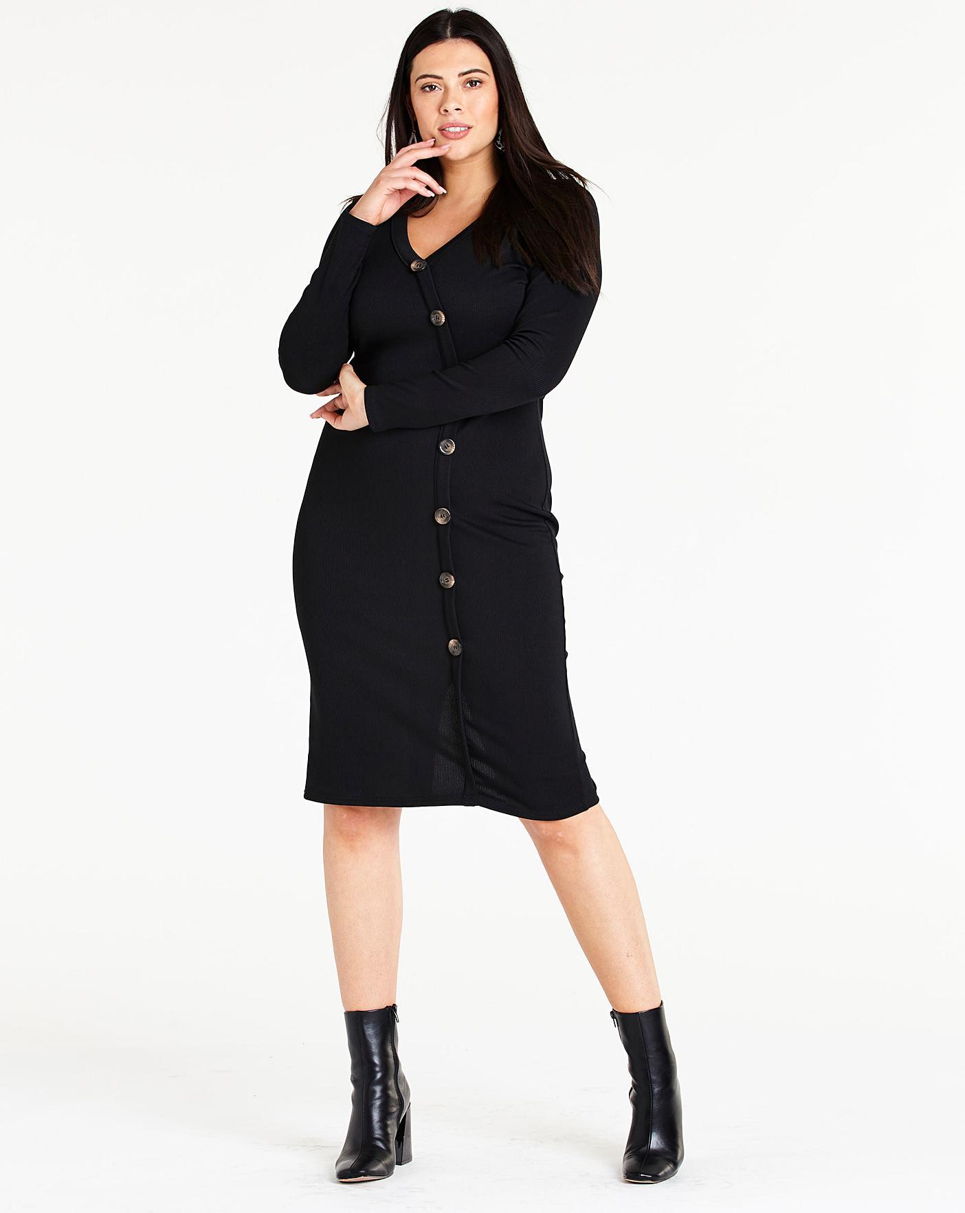 58793de66b Side Button Ribbed Jersey Dress