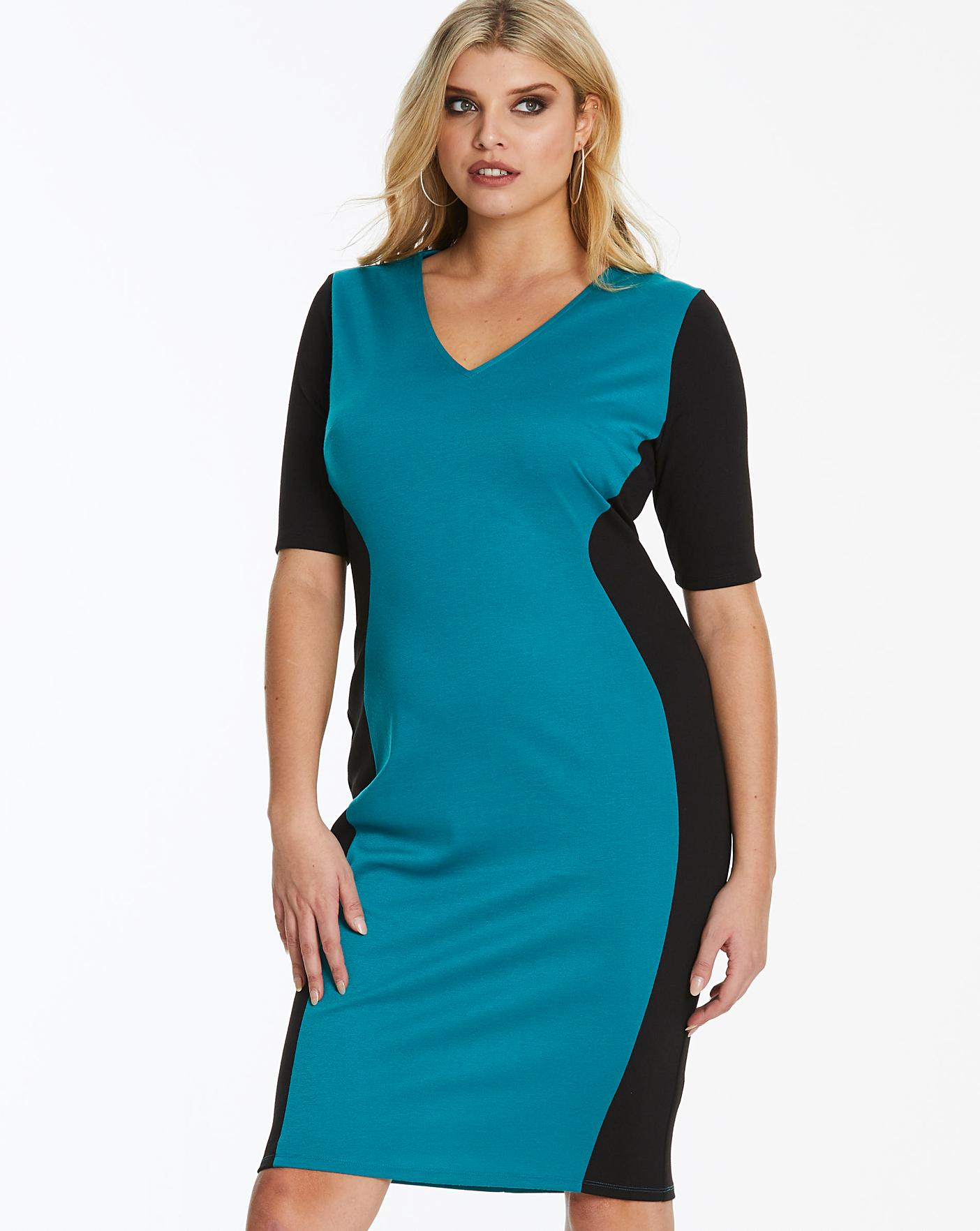 e2a902c346d0 Black/Teal V-Neck Illusion Bodycon Dress | Simply Be
