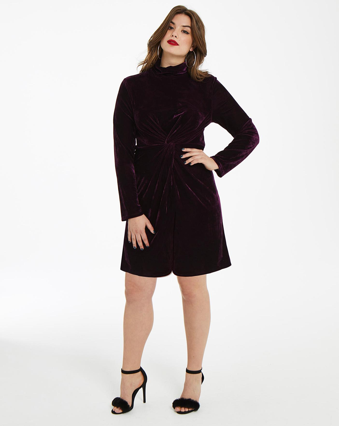 A bordo chiarezza Pasqua  Fashion Union Twist Knot Velvet Dress | Simply Be