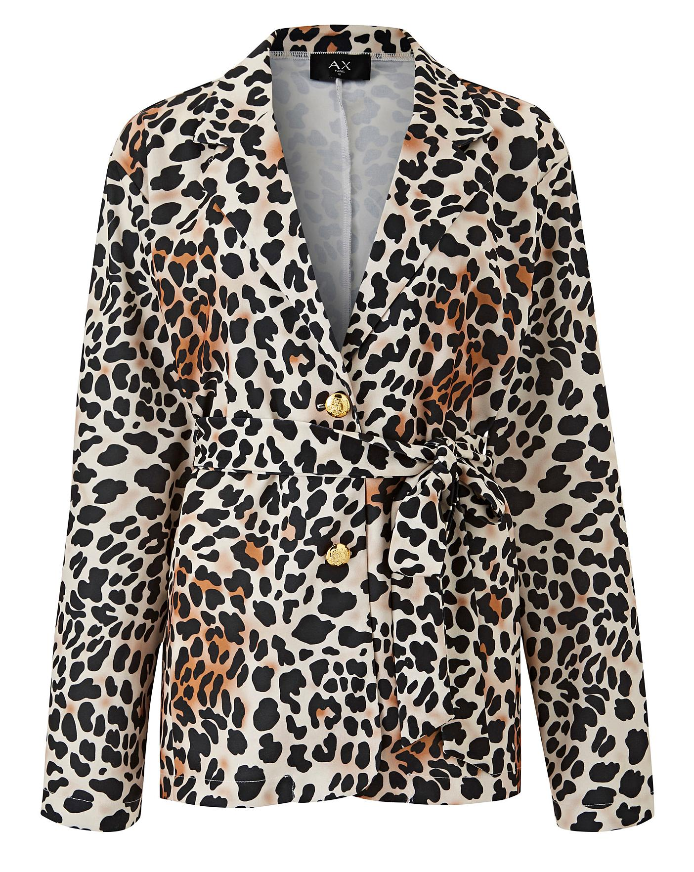 Ax Paris Curve Leopard Print Jacket Crazy Clearance