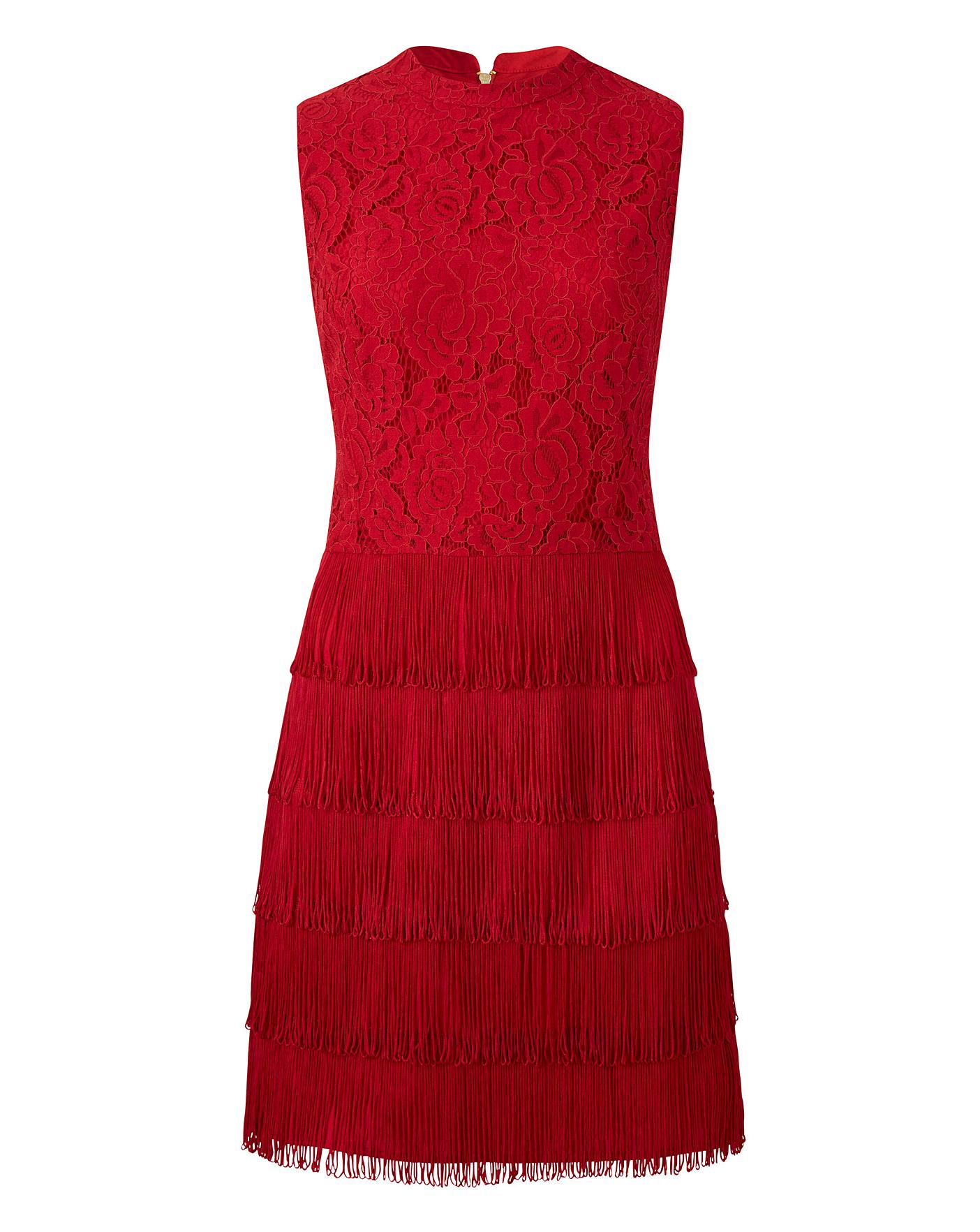 767d6a628f79 Oasis Curve Fringe and Lace Shift Dress | Simply Be