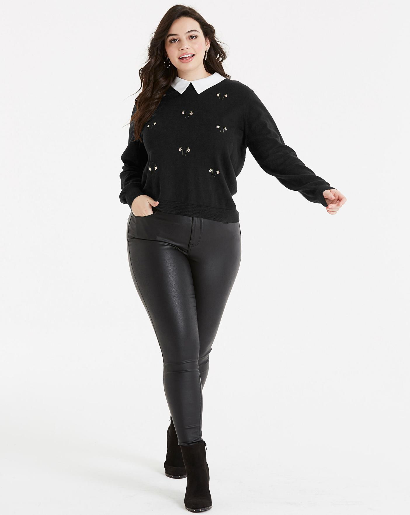 93f1fd375b3de3 Oasis Curve Embroidered Snow Drop Jumper with Collar