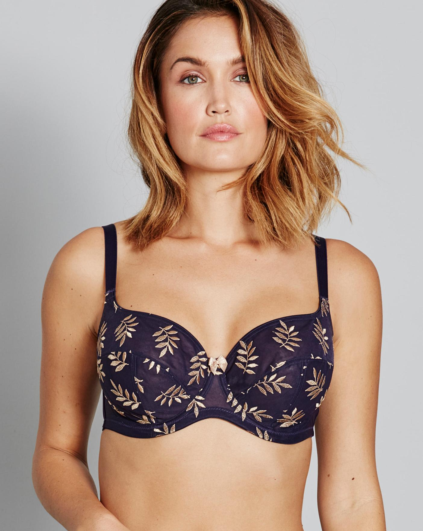 d32f2a72d49af Panache Tango II Navy/Gold Balcony Bra | Simply Be