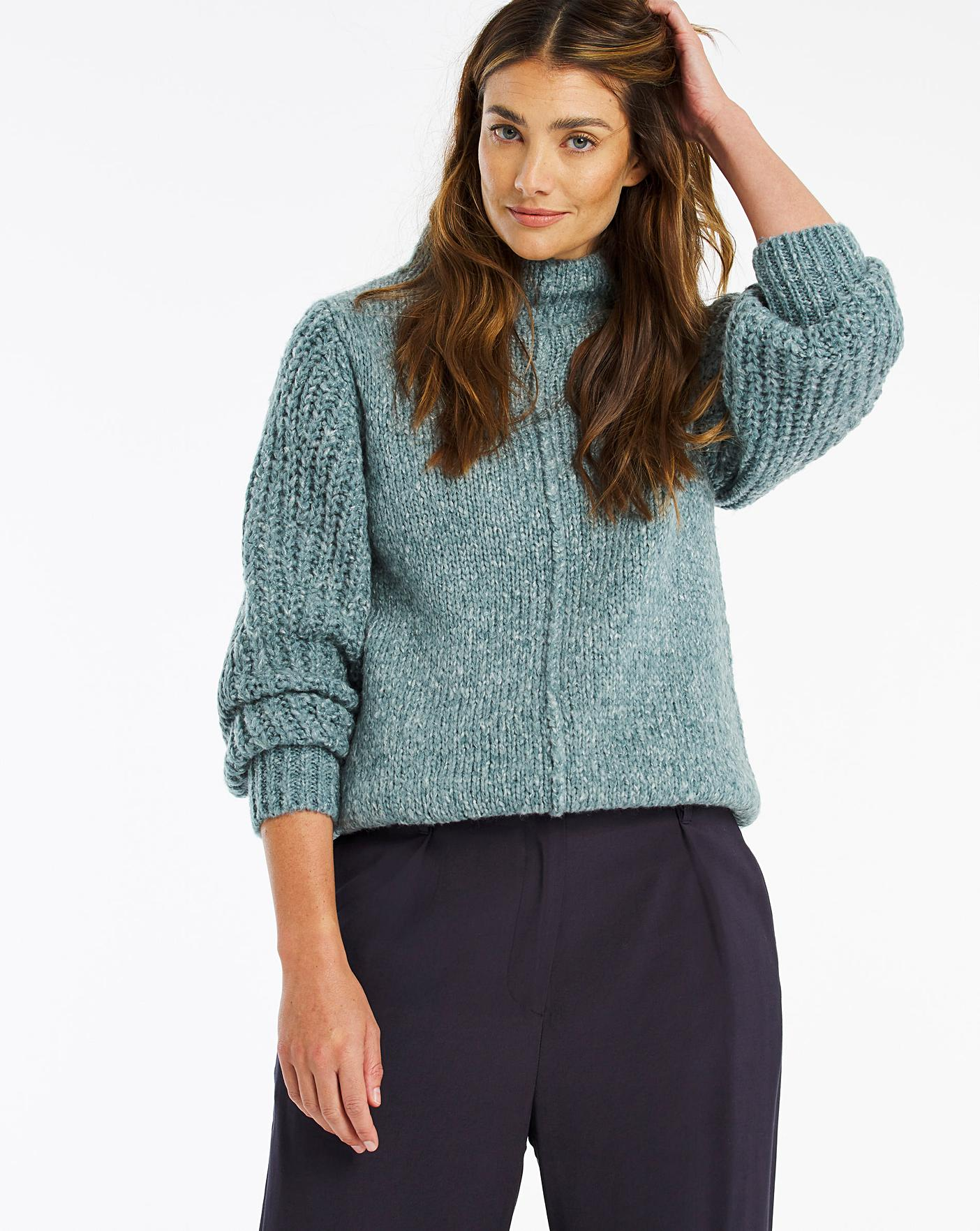 Womens High Neck Ribbed Detail Jumper JD Williams