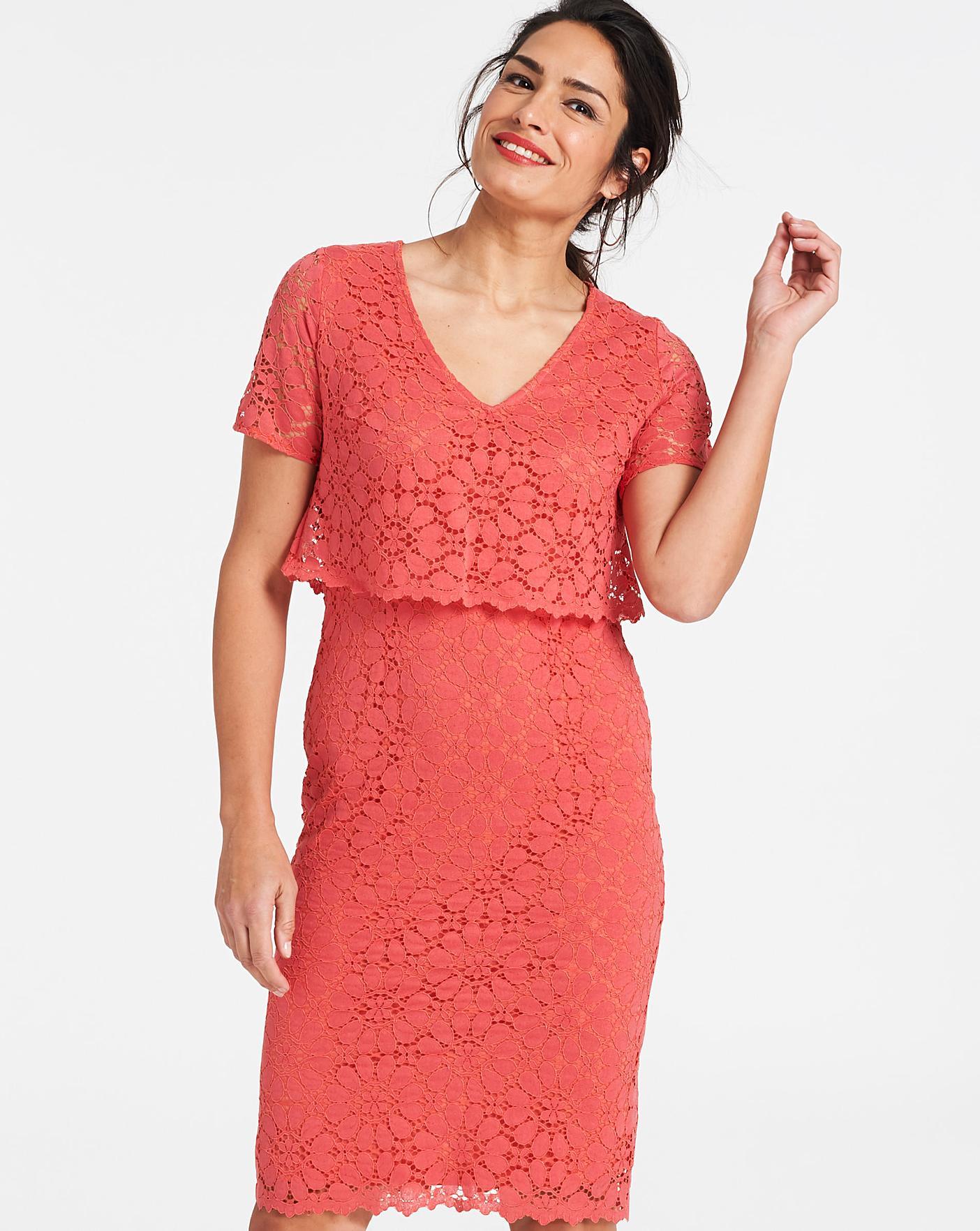 Coral Lace Layered Dress