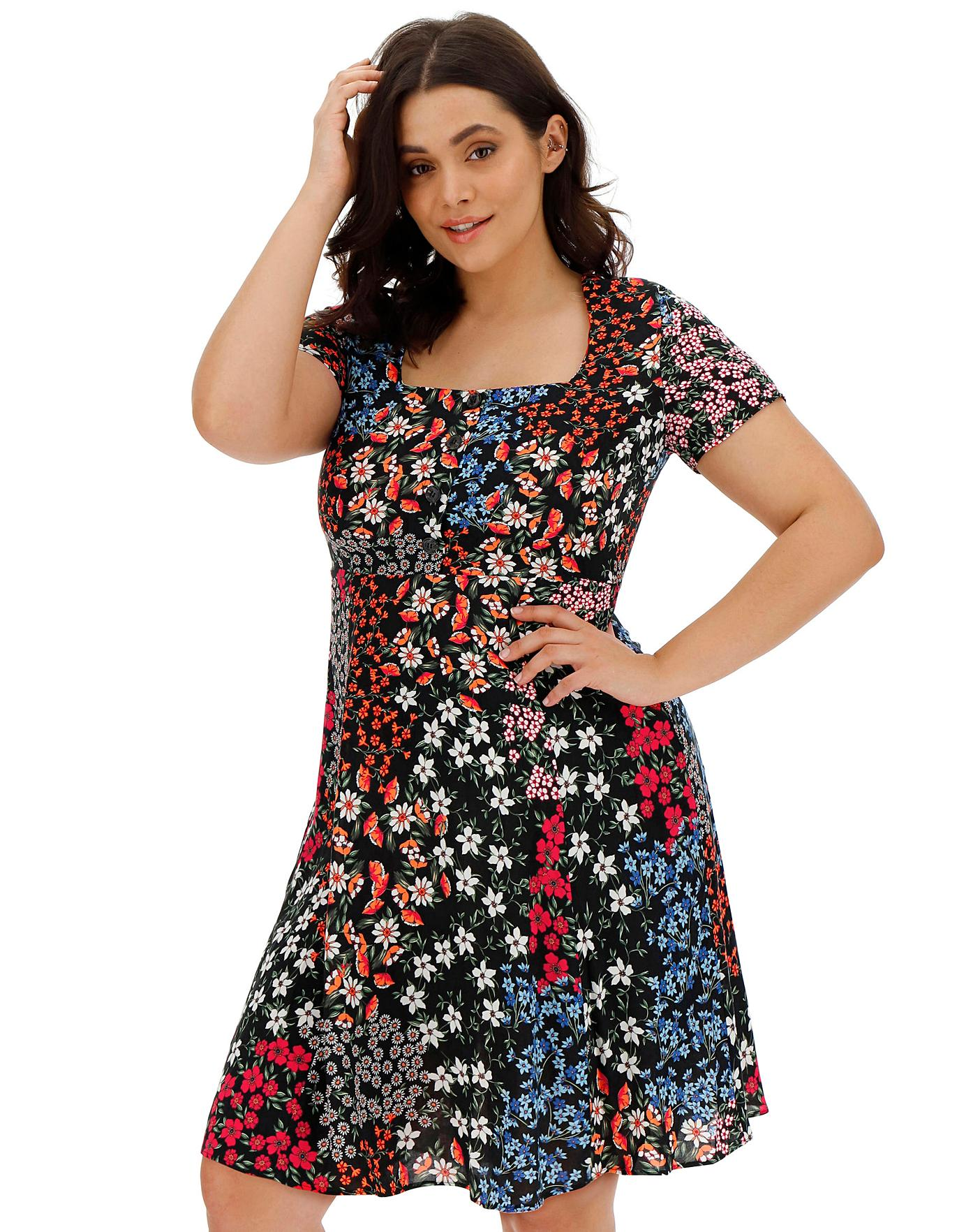 1b3800af7ffa0 Square Neck Tea Dress | Simply Be