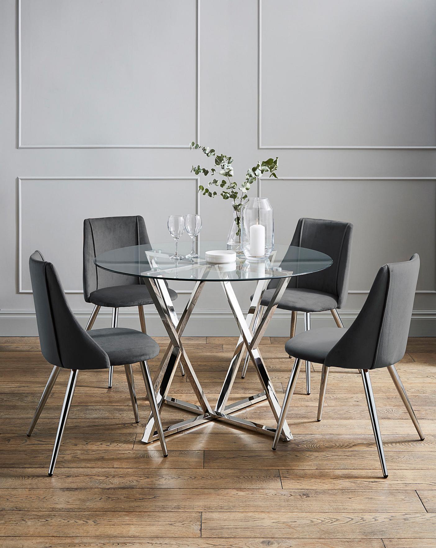 Estelle Table 4 Anais Velvet Chairs J D Williams
