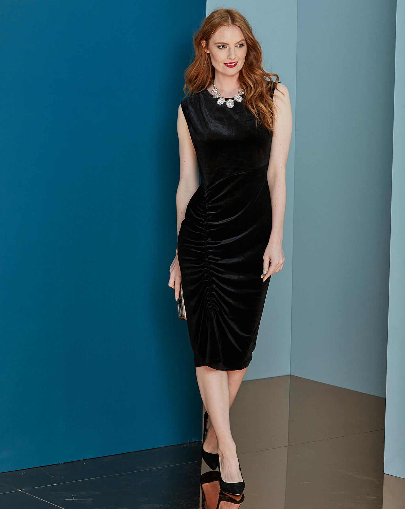 645b28dc86 Black Ruched Velour Bodycon Dress