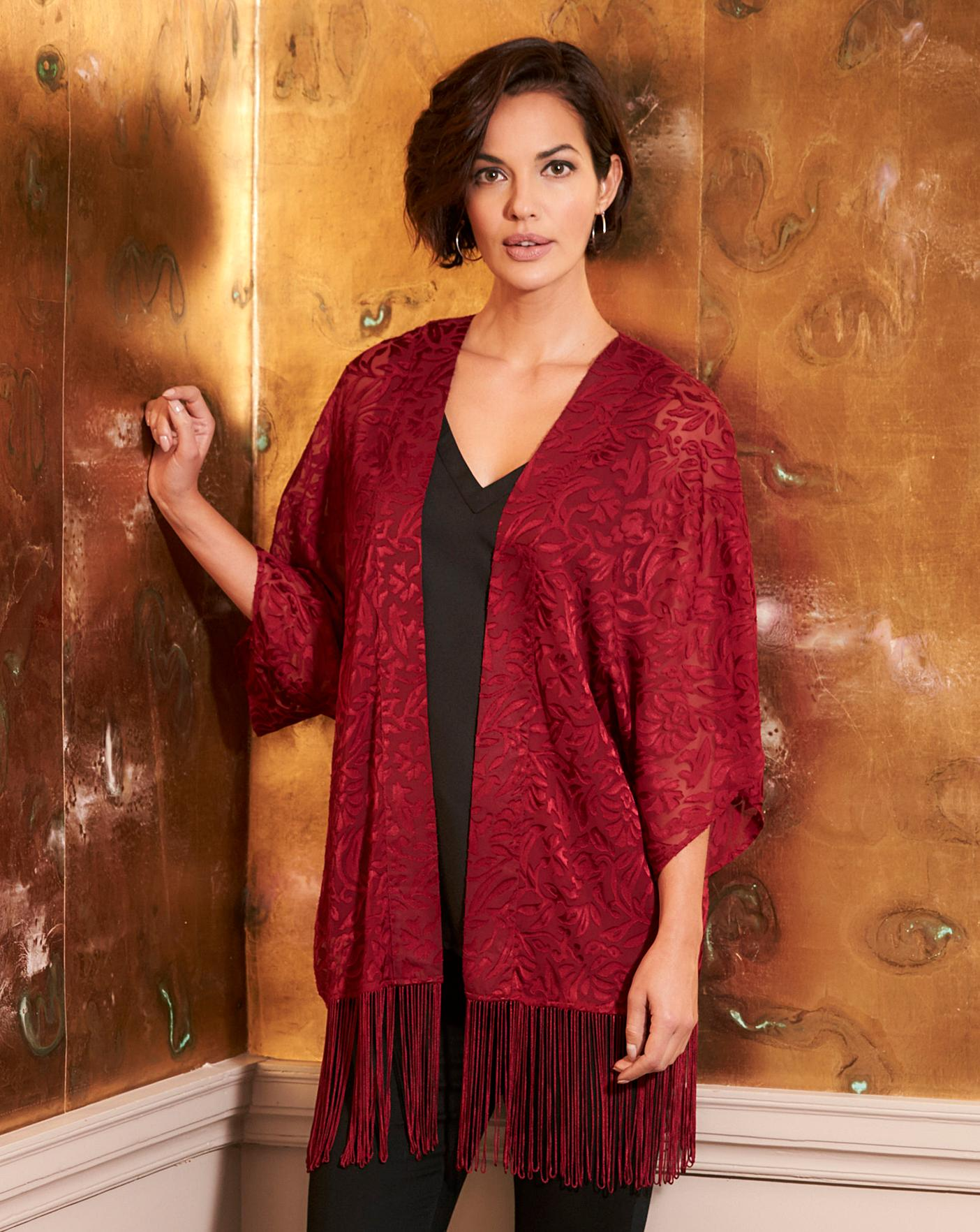 Womens Burnout Tassel Kimono