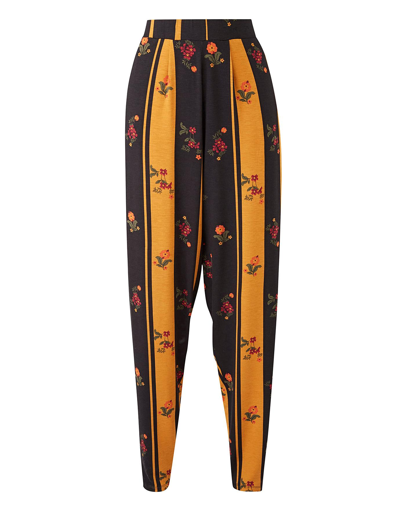 Floral Print Stretch Jersey Harem Tapered Leg Trousers Regular