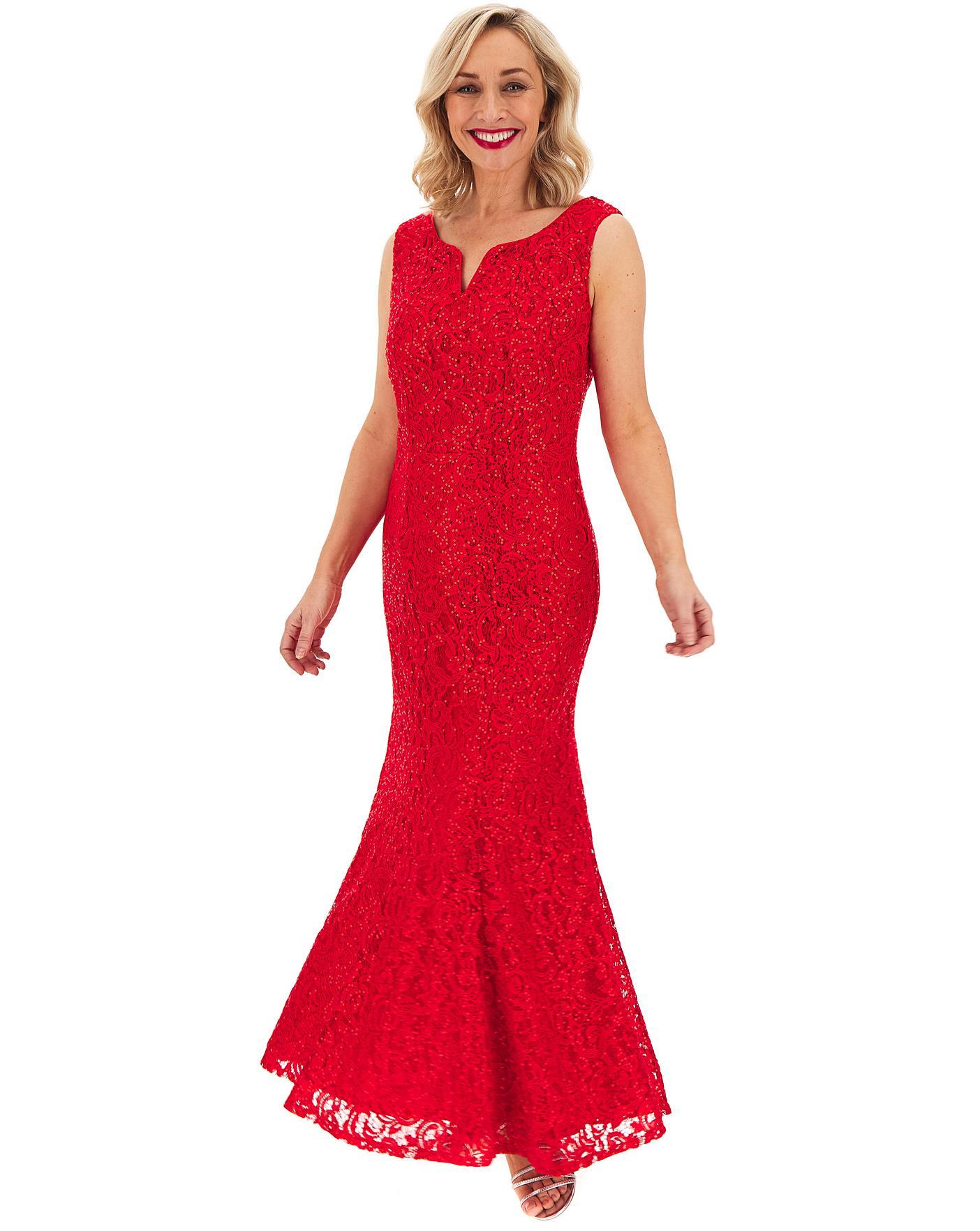 Joanna Hope Red Lace V Neck Maxi Dress