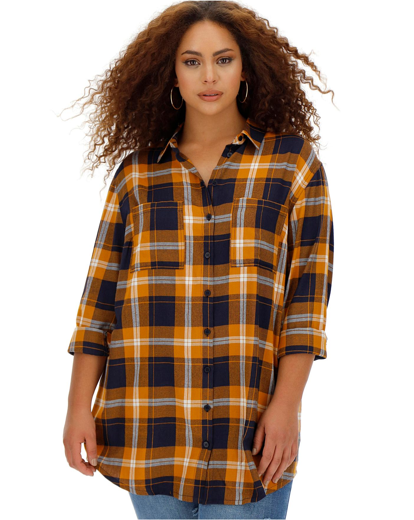 Navy Check Boyfriend Shirt