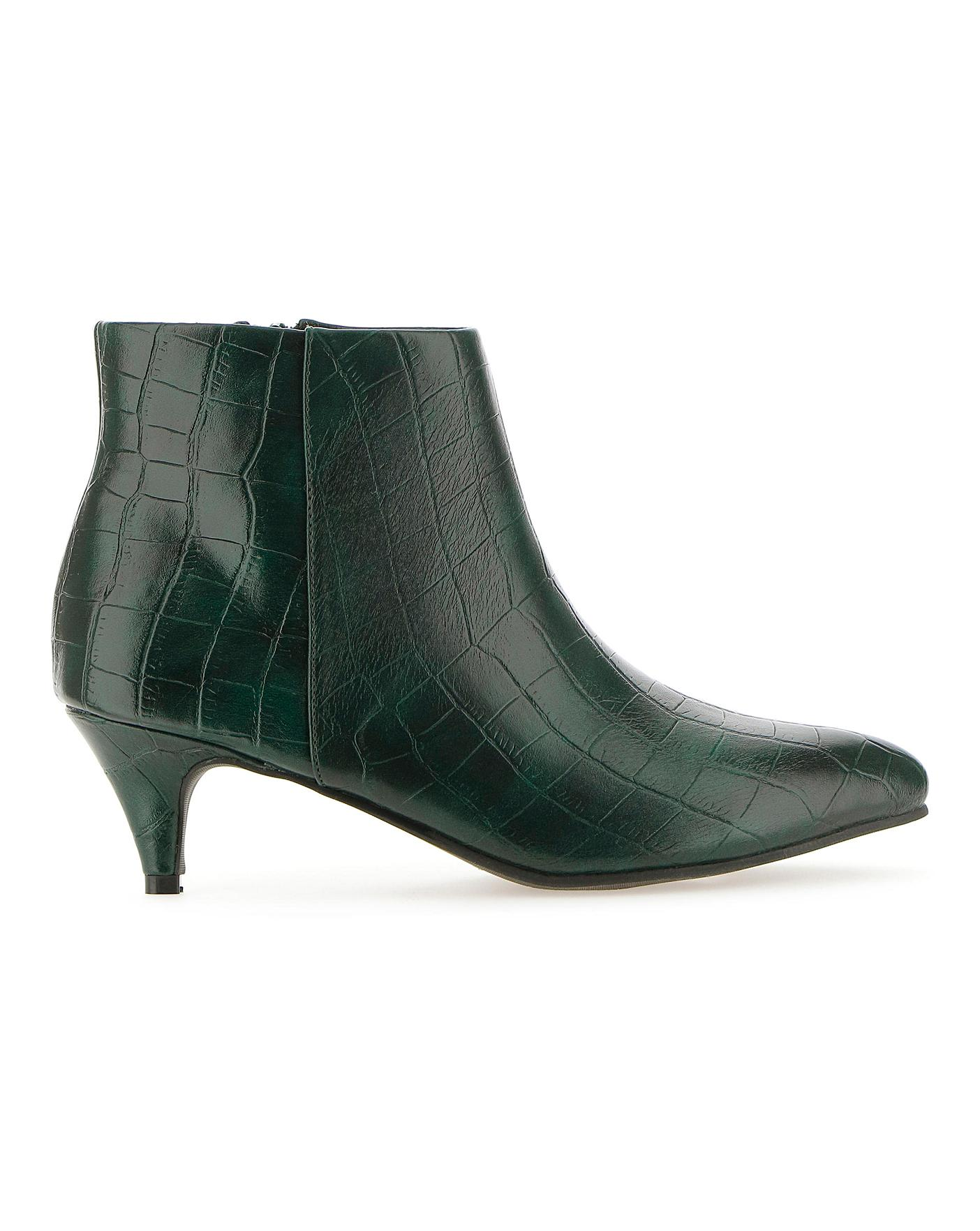 Kitten Heel Mock Croc Boots E Fit
