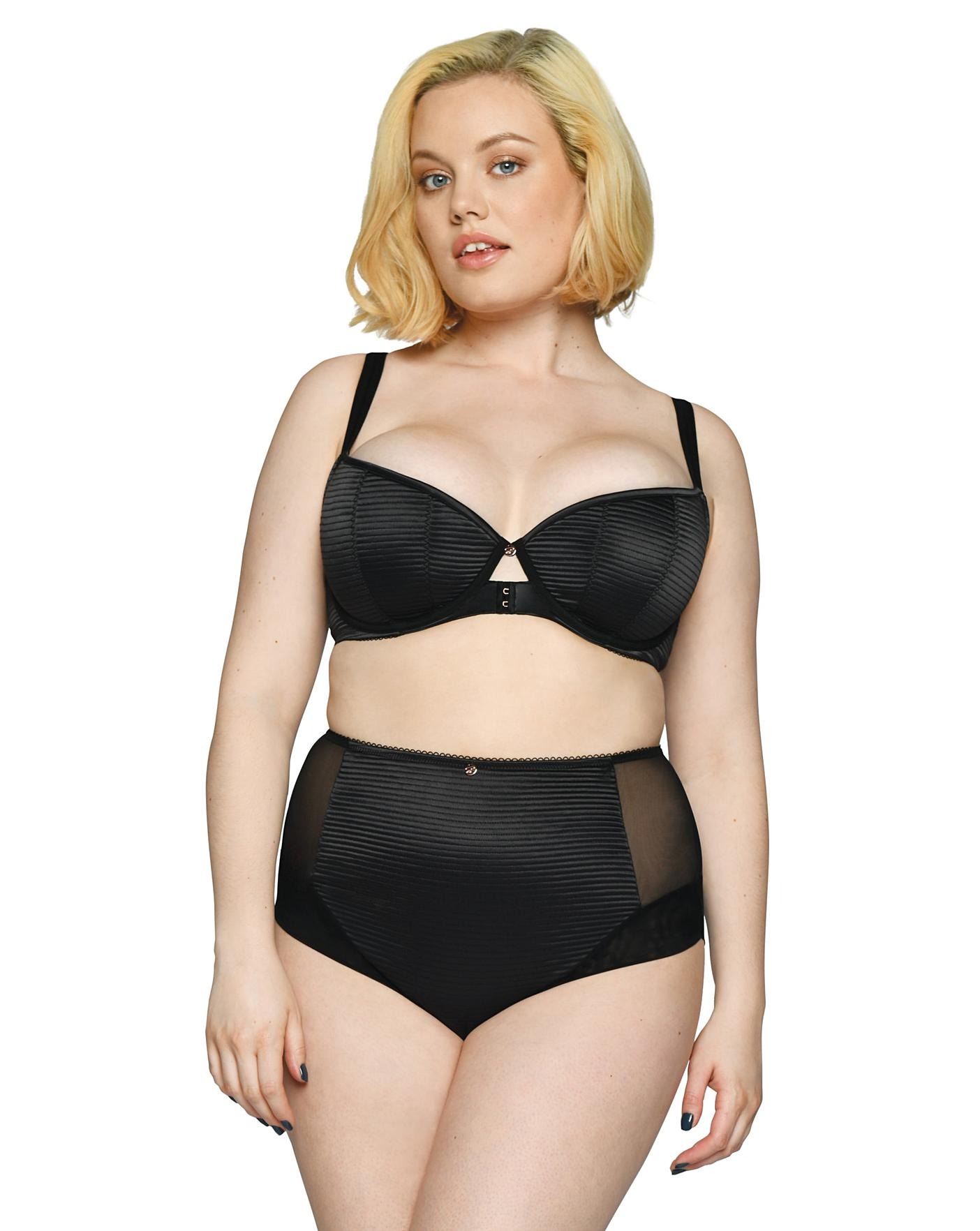 Scantilly by Curvy Kate Womens Brazen High Waist Brief size Small in Black