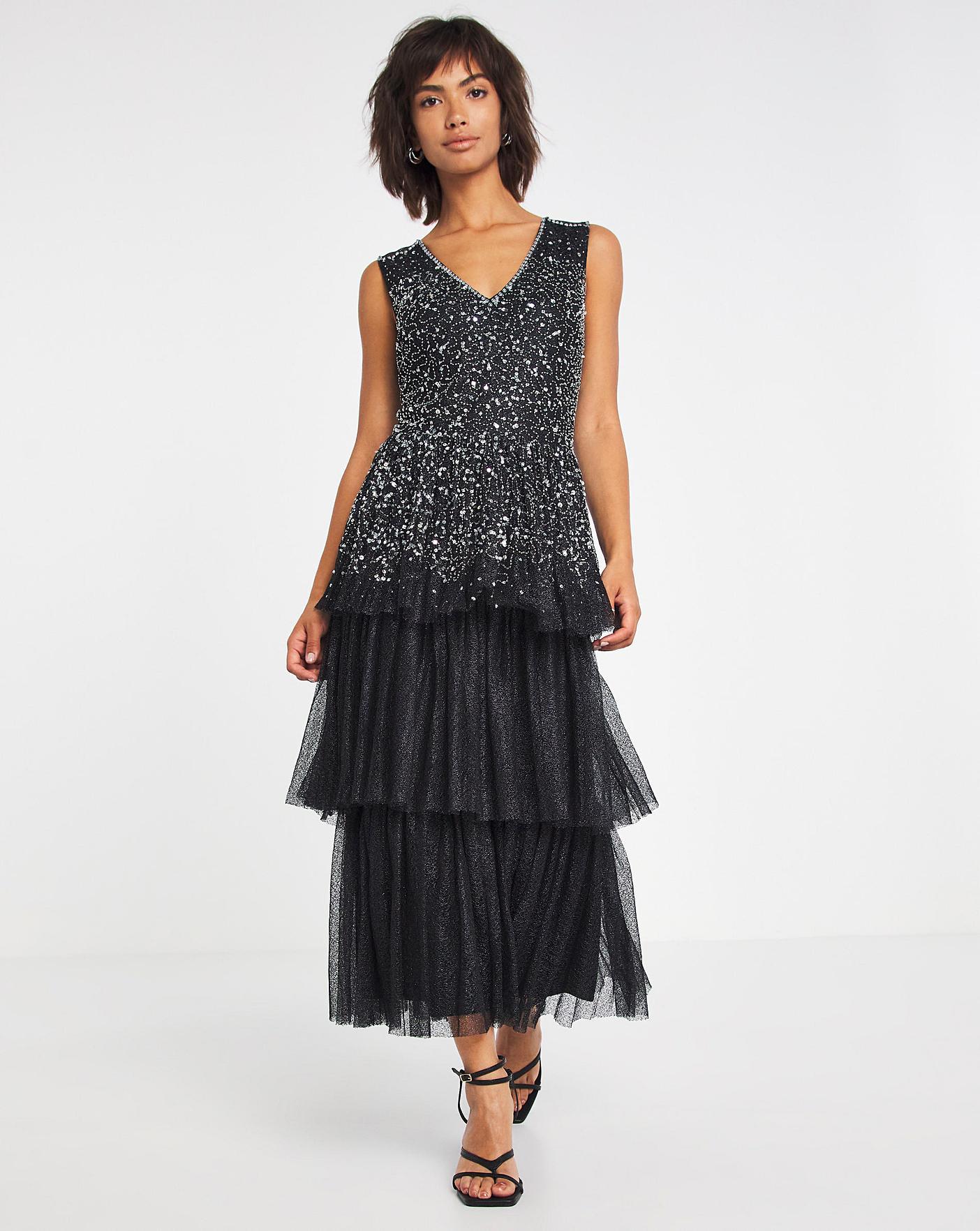 Vintage 1920s Dresses – Where to Buy Joanna Hope Sequin Tiered Prom Dress £130.00 AT vintagedancer.com