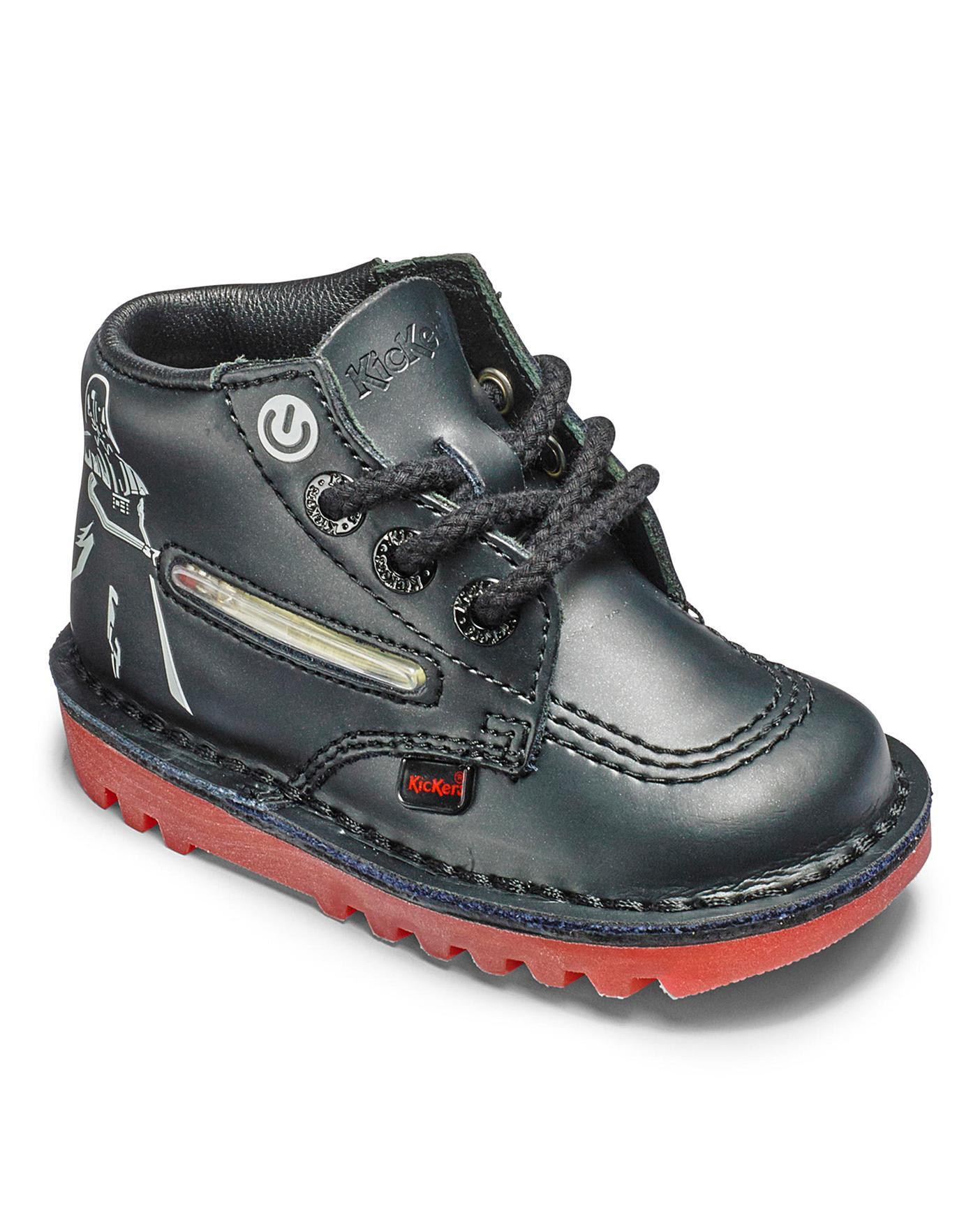 Kickers Infant Boys Vader Lightsaber Leather Black Star Wars Ankle Boots Size