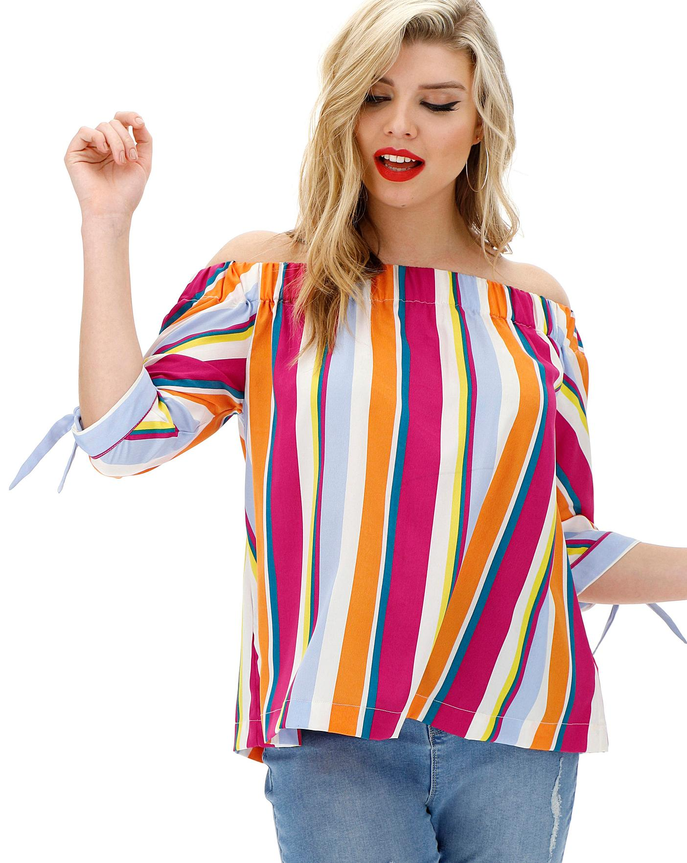 Womens Bardot Blouse with Tie Sleeve Simply Be