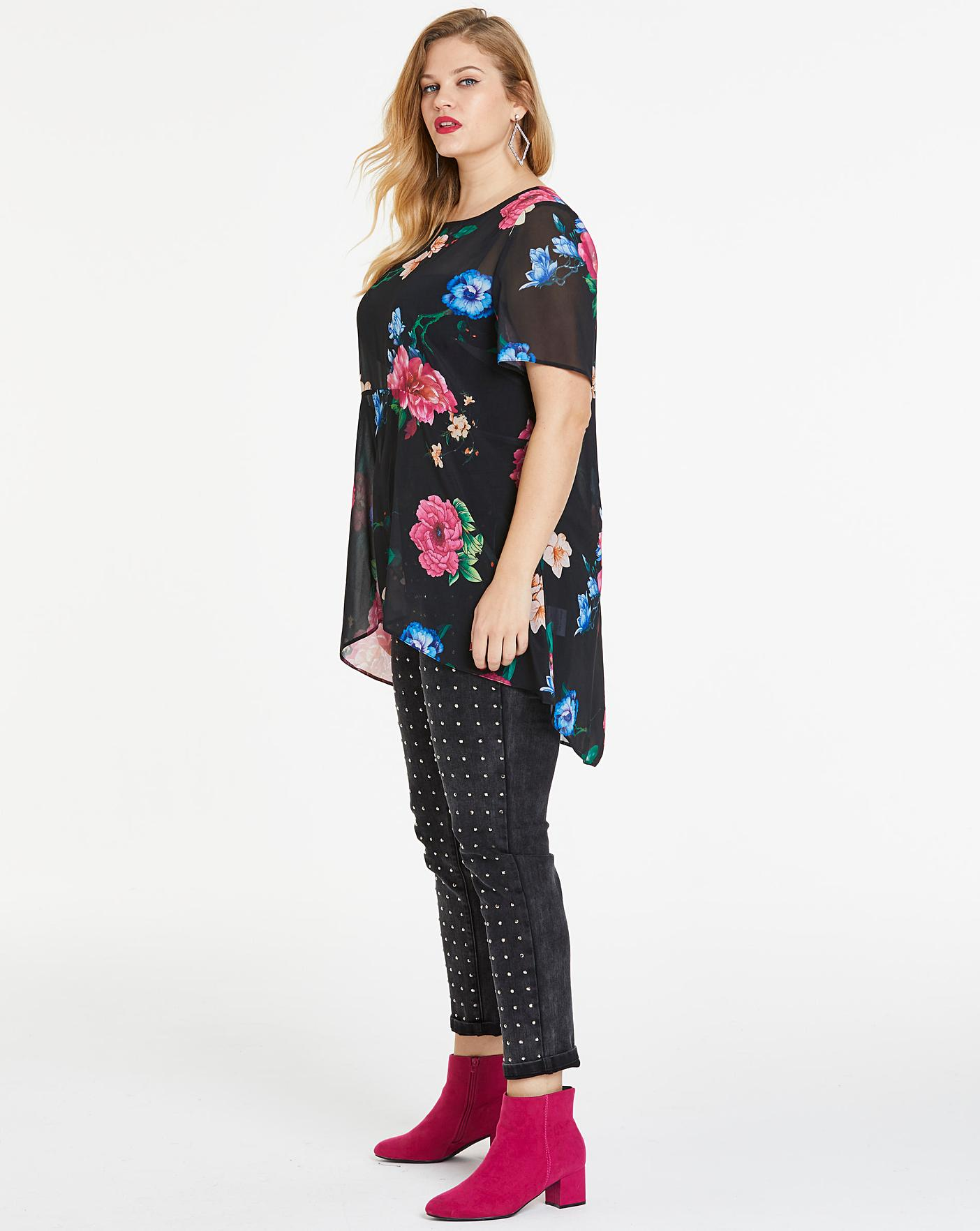 Black Floral Extreme Dip Back Blouse Crazy Clearance