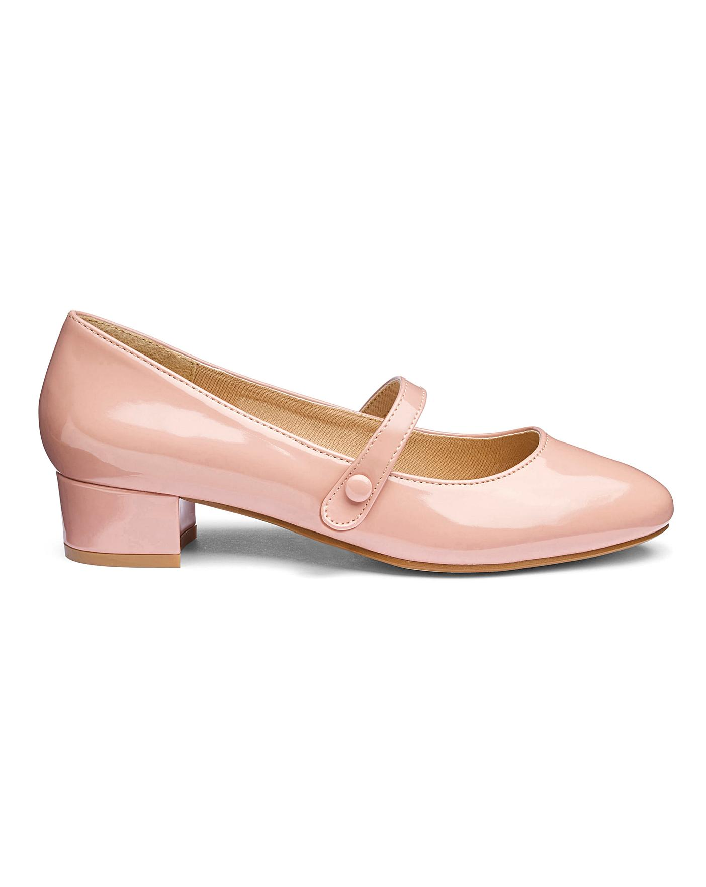 Low Block Heel Mary Jane Shoes E Fit