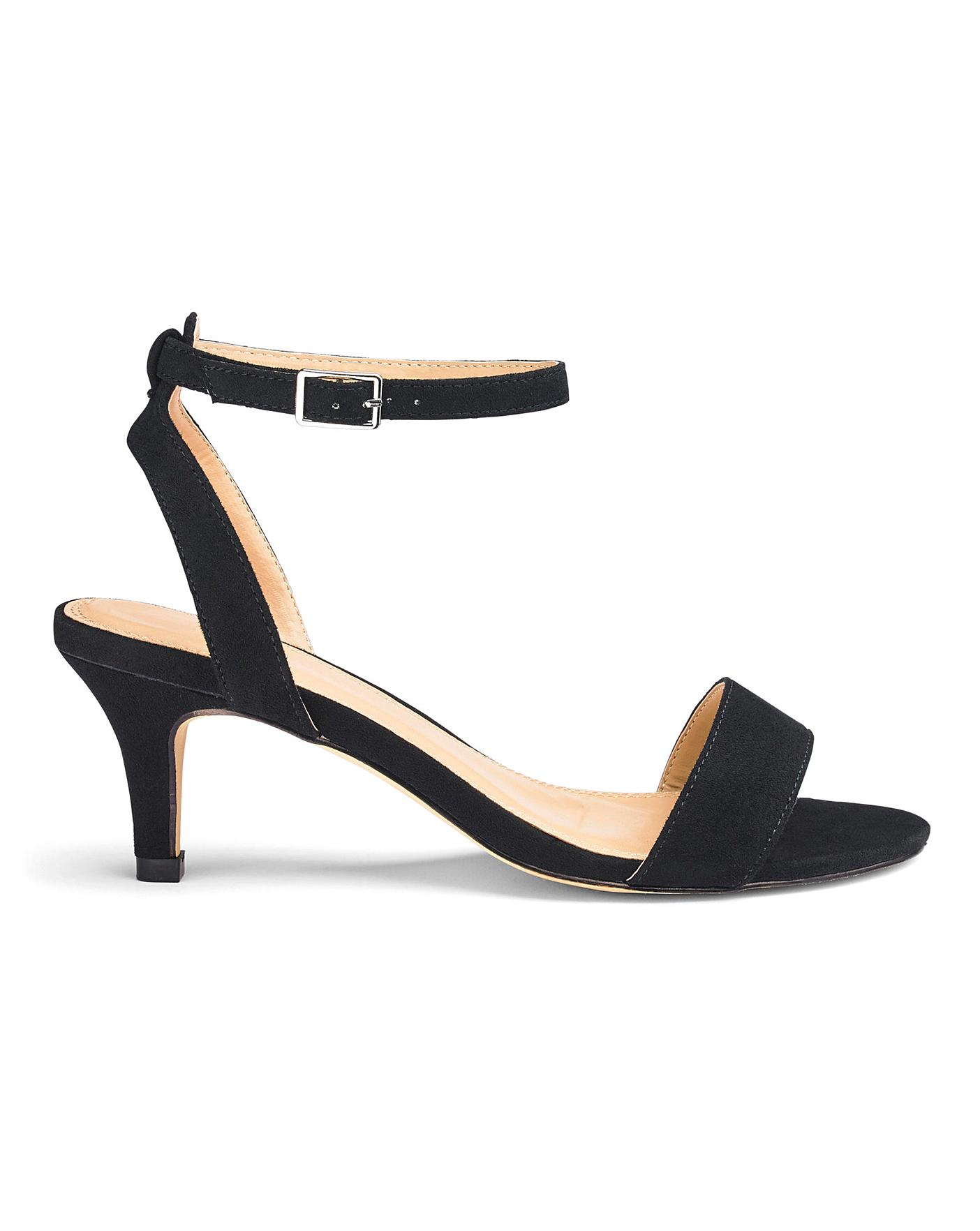 outlet stable quality hot sale online Kitten Heel Strappy Sandals EEE Fit | Simply Be